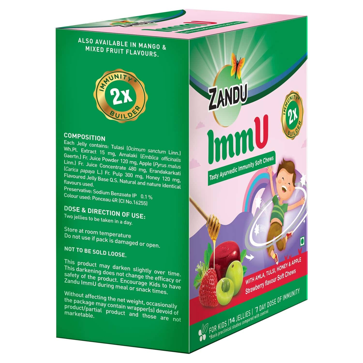 Zandu Immu Tasty Ayurvedic Strawberry Immunity Soft Chews Packet Of 14