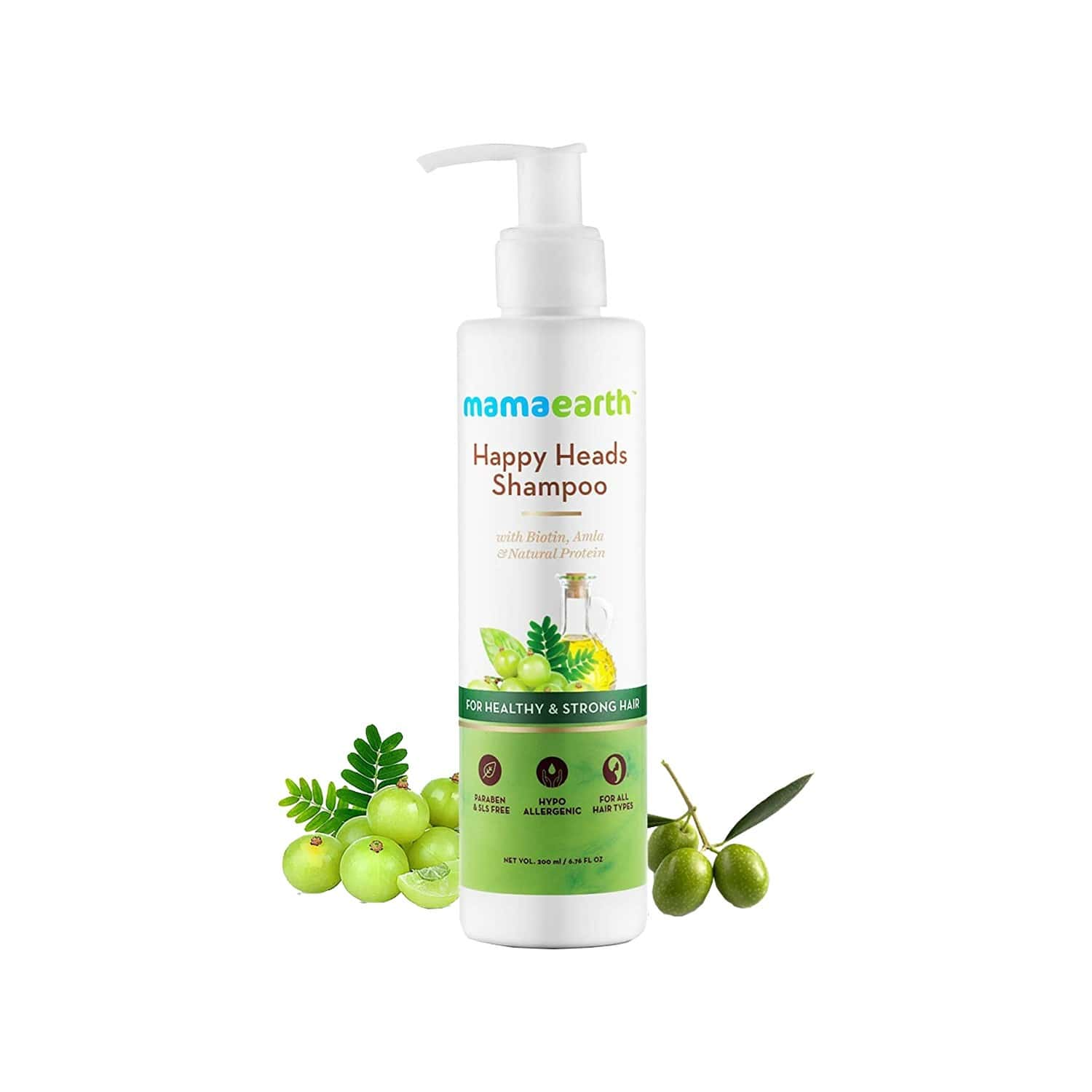 Mamaearth Natural Shampoo - 200ml & Conditioners - 200ml With Biotin, Protien, Bhringraj, Amla For Hair Fall And Shiny Hair, Sulphate And Sles Free