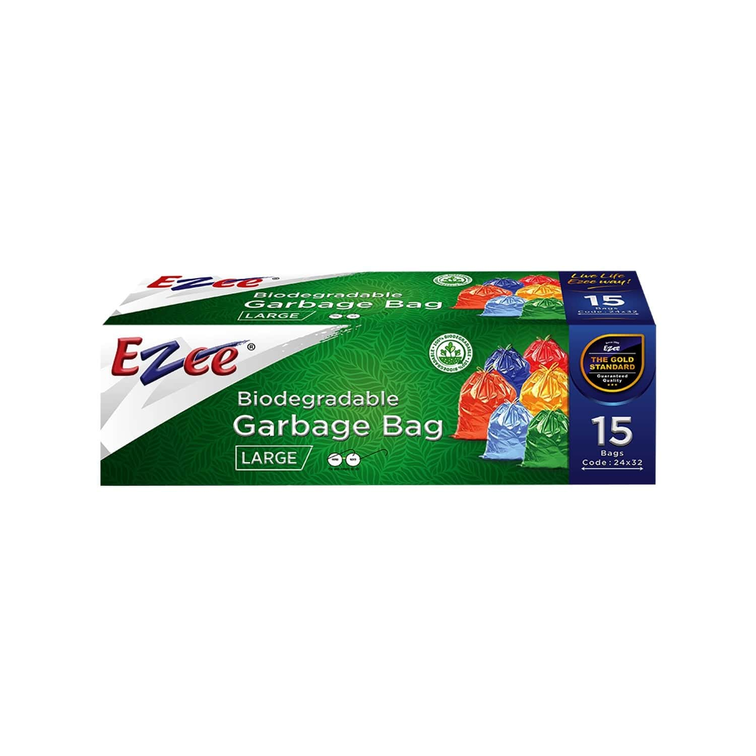 Ezee Bio-degradable Large  Garbage Bags (24 X 32 Inches) Packet Of 15