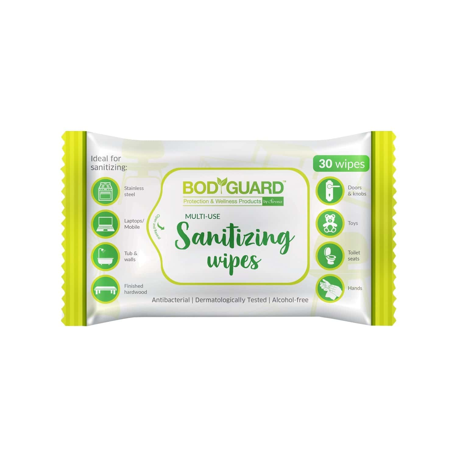Bodyguard Anti Bacterial Disinfectant Sanitizing  Wipes  Packet Of 30