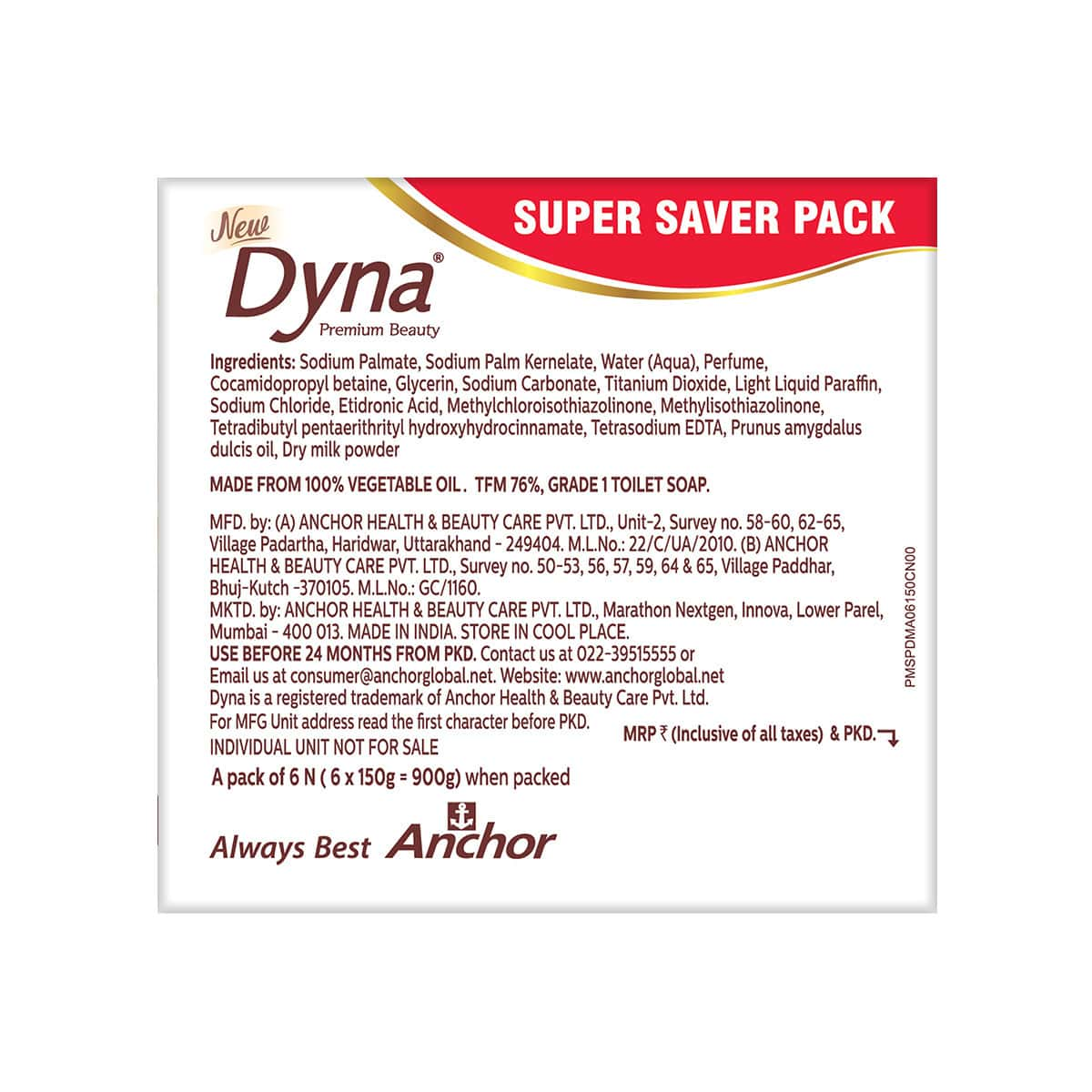 Dyna Milk Cream & Almond Oil (pack Of 6x150 G) Packet Of 900 G