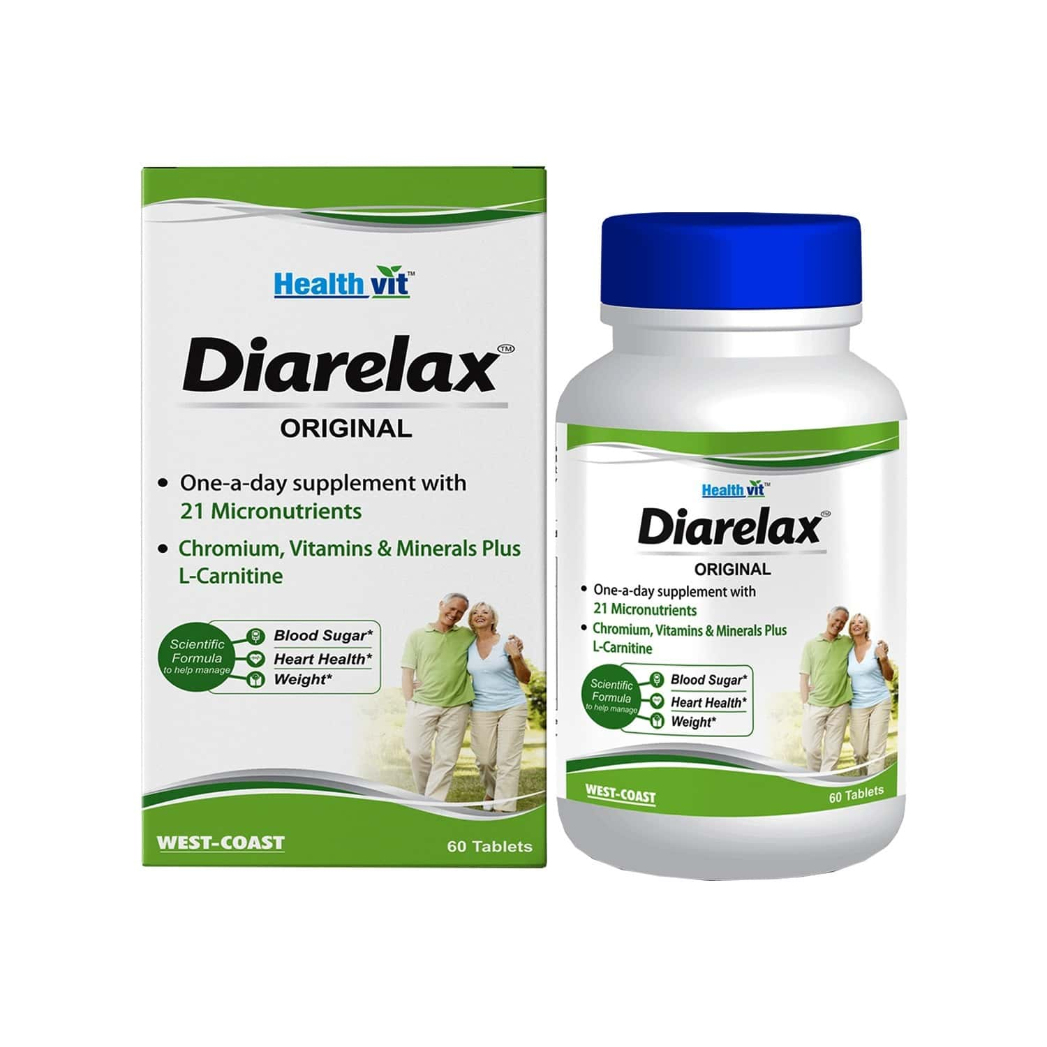 Healthvit Diarelax Diabetes Care Supplement Supports Healthy Blood Glucose Levels -60 Tablets