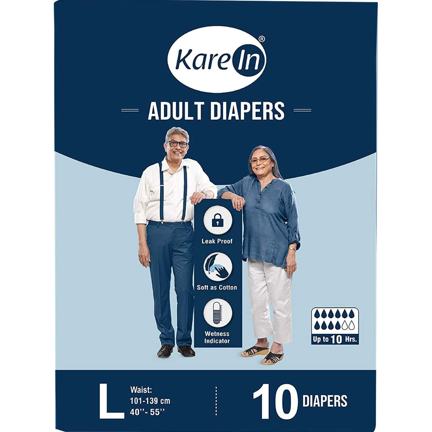 Kare In Adult Diaper Large ,waist Size 101-139cm (40-55) ,high Absorbency 10 Pcs