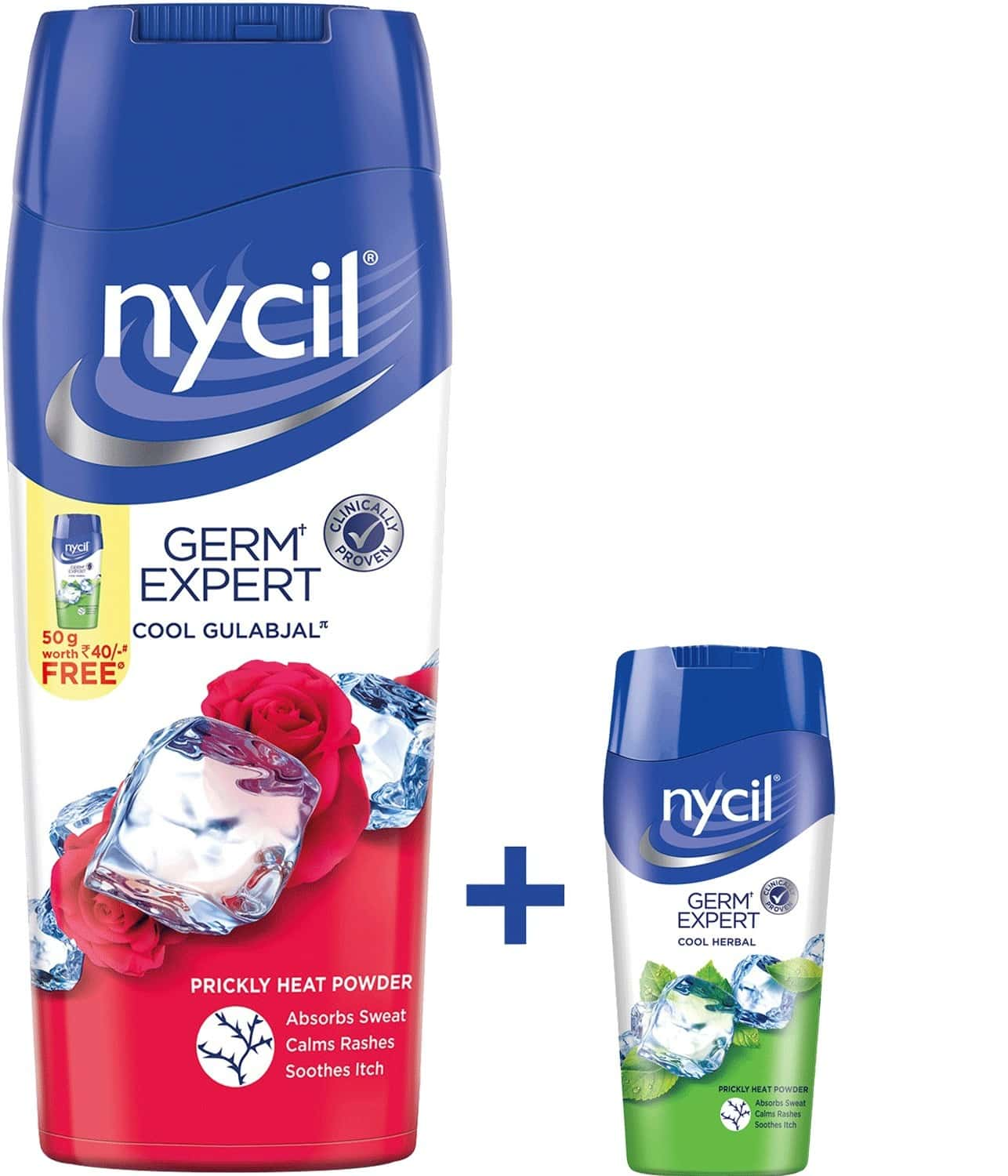 Nycil Cool Gulabjal, Prickly Heat Powder 150g (free Nycil Cool Herbal - 50gm Worth Rs 40)