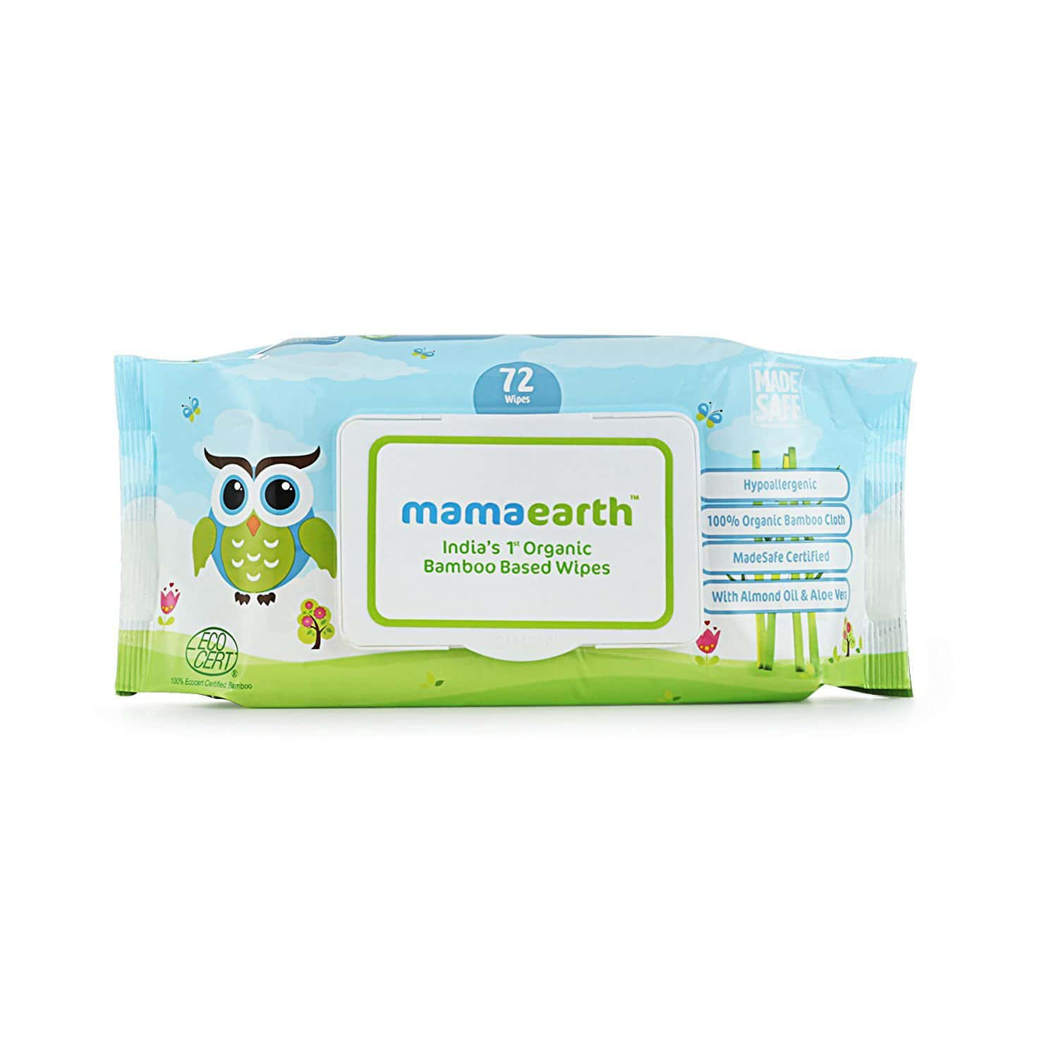 Mamaearth Organic Bamboo Wipes (2 Pack Combo) Box Of 72 's