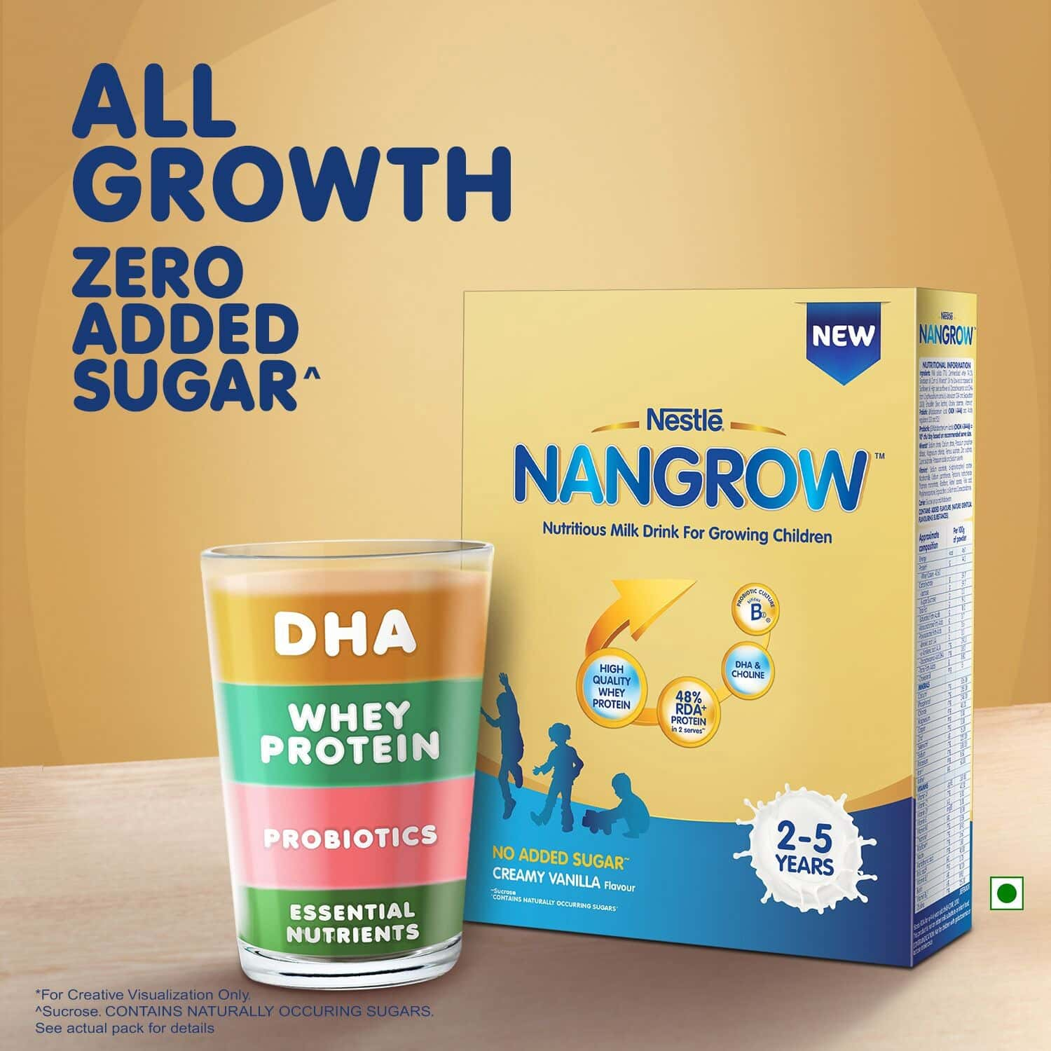Nestle Nangrow Creamy Vanilla Nutritious Milk Drink For Growing Children (from 2 To 5 Years) Box Of 400 G