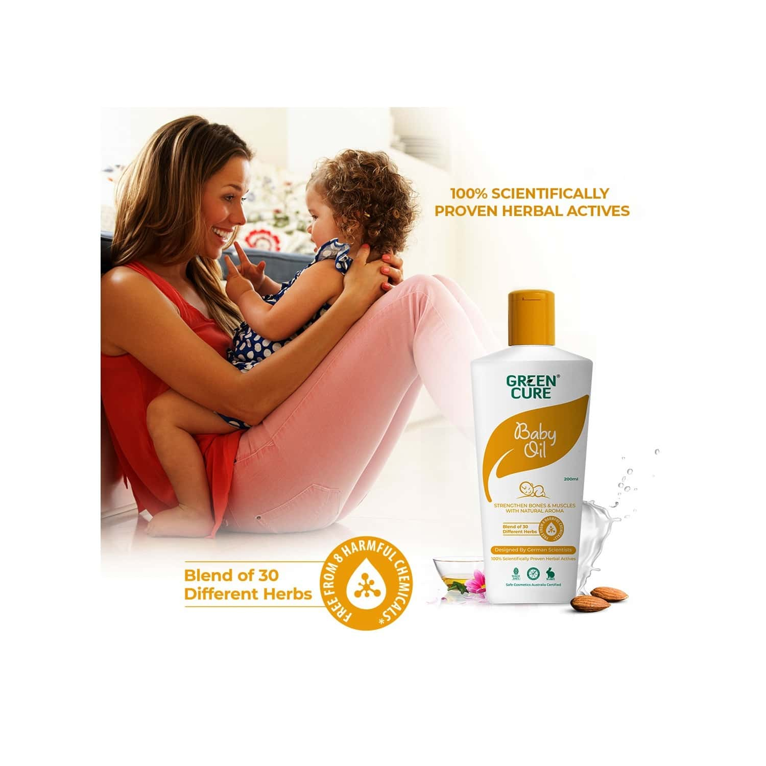 Green Cure Natural Baby Oil For Healthy Bones & Muscles, Enriched With Almond Oil, Squalan And 30 Natural Oils - 200ml
