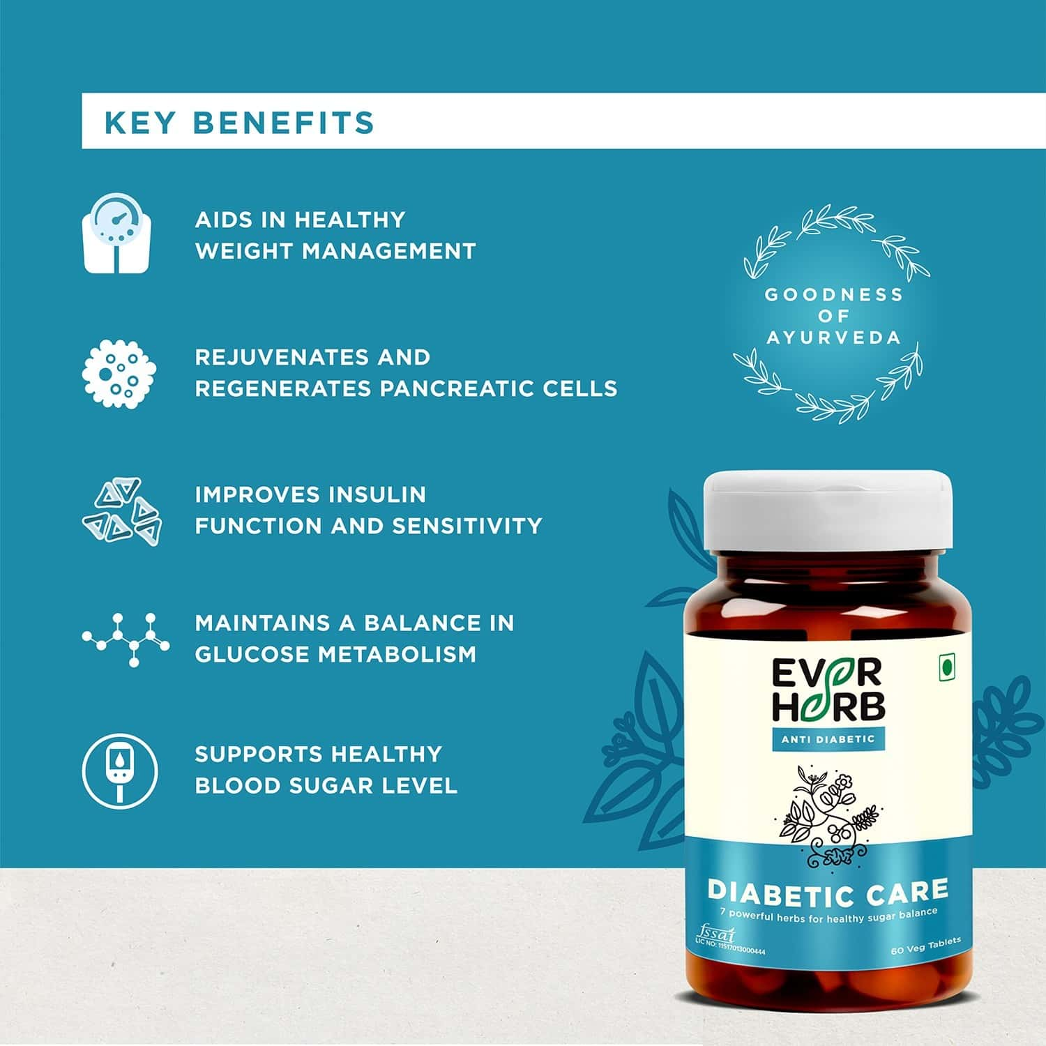 Everherb Diabetic Care - 7 Specially Researched Ayurvedic Herbs - Blood Sugar Control - Bottle Of 60