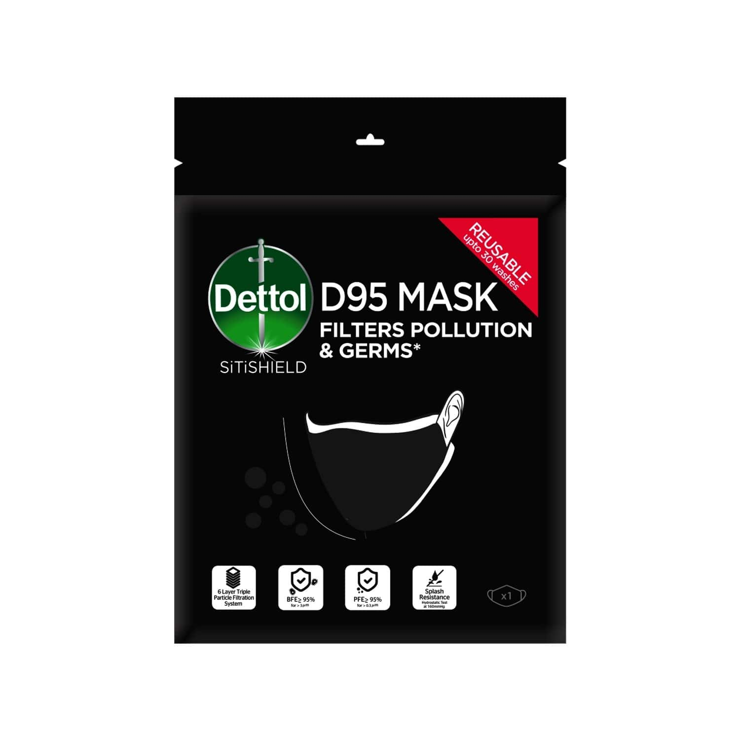 Dettol D95 Mask For Protection From Bacteria, Germs & Pollution Reusable & Washable - Large - Pack Of 1