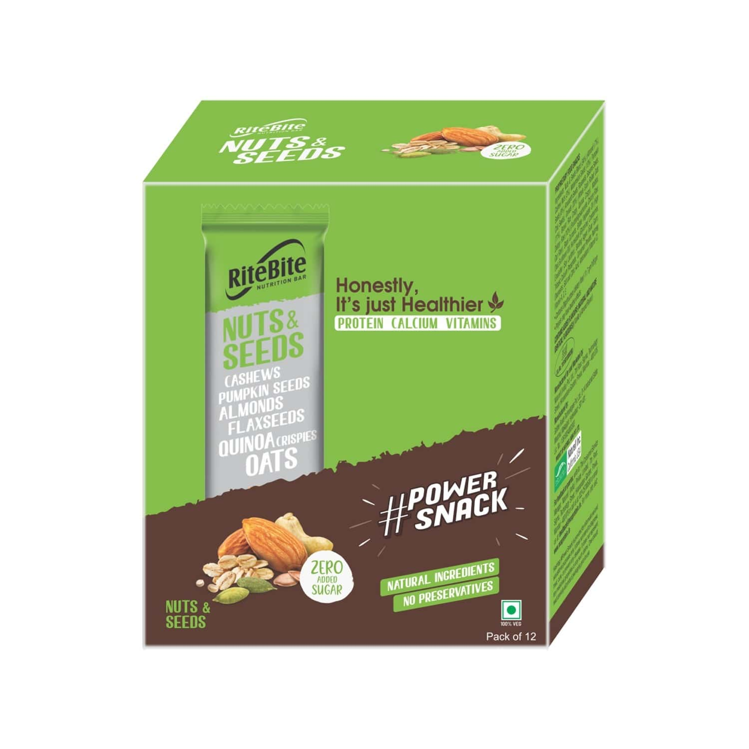 Ritebite Nuts & Seeds Nutrition Bar (pack Of 12) Box Of 420 G