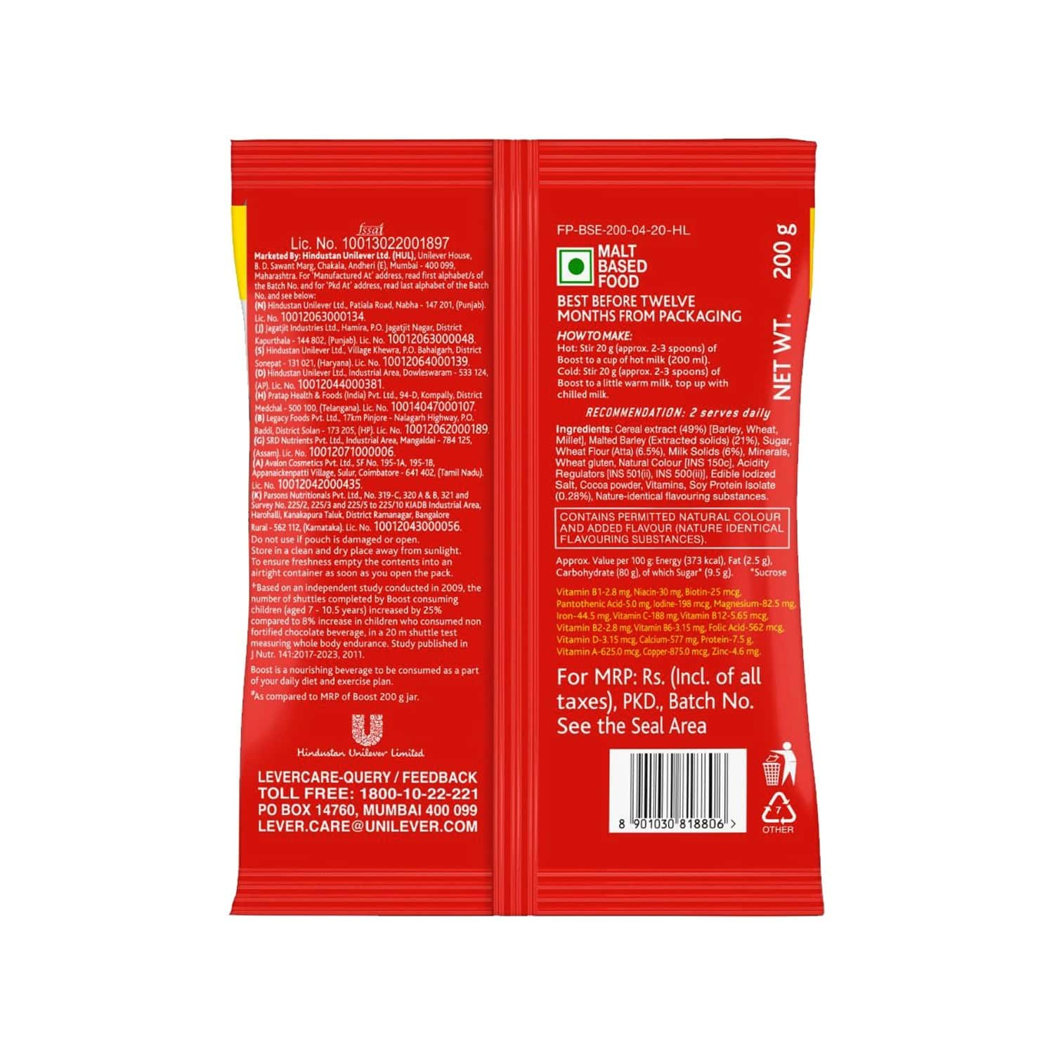 Boost Energy & Nutrition Drink Pouch - 200 Gm