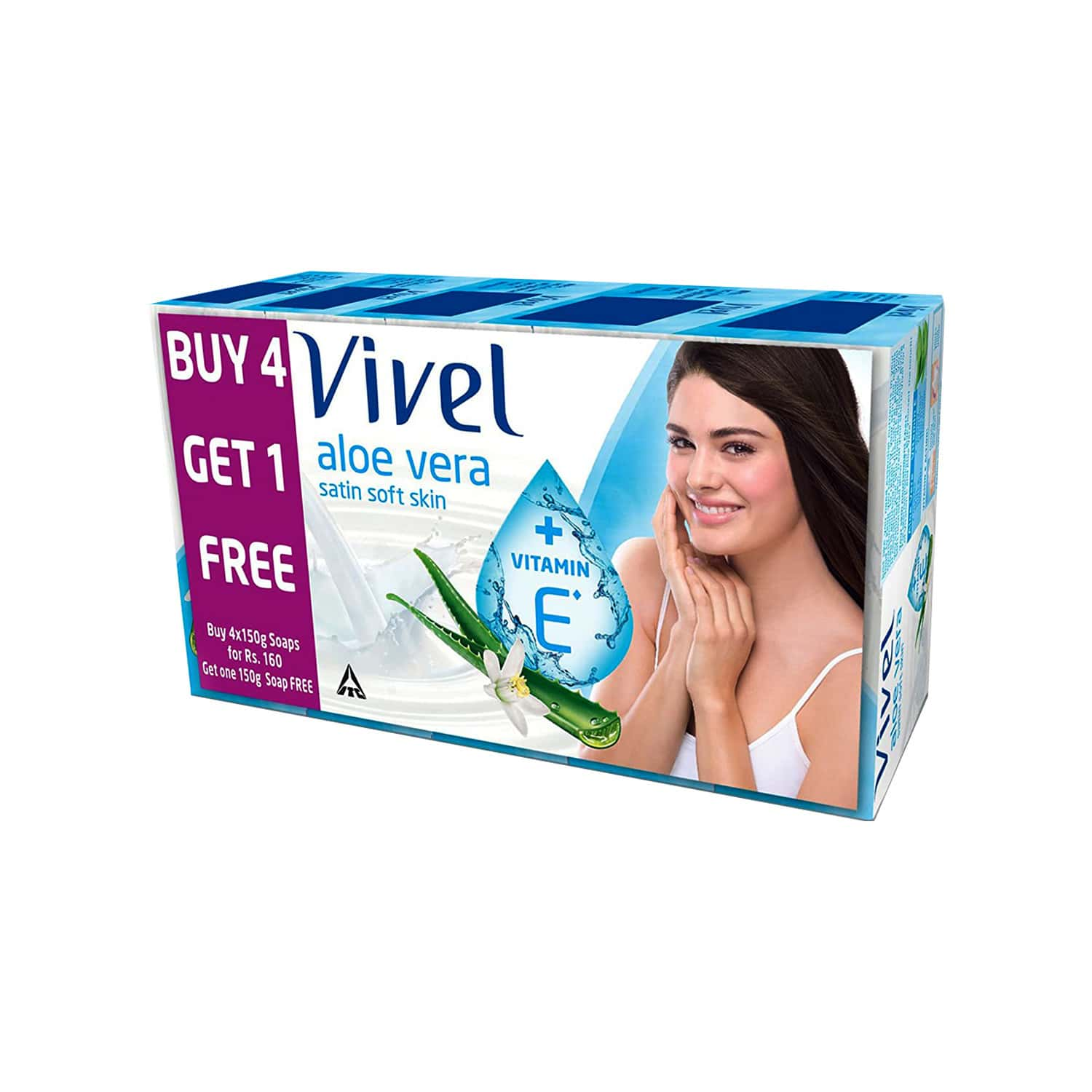 Vivel Aloe Vera Soap  Wrap Of 600 G (pack Of 4x150g)