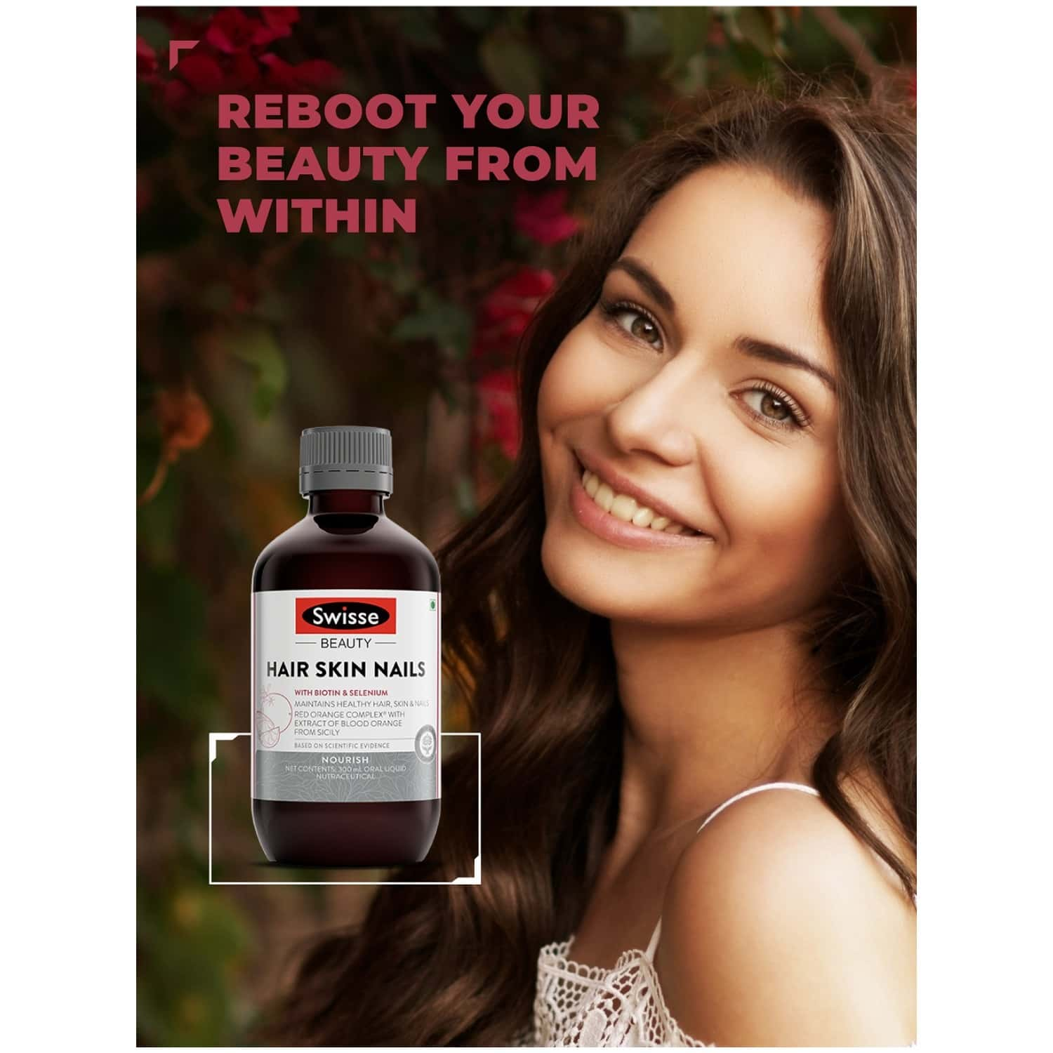 Swisse Ultiboost Hair Skin And Nails Liquid Supplement With Blood Orange Extract Biotin And Selenium For Hair Skin And Nail Health - 300 Ml