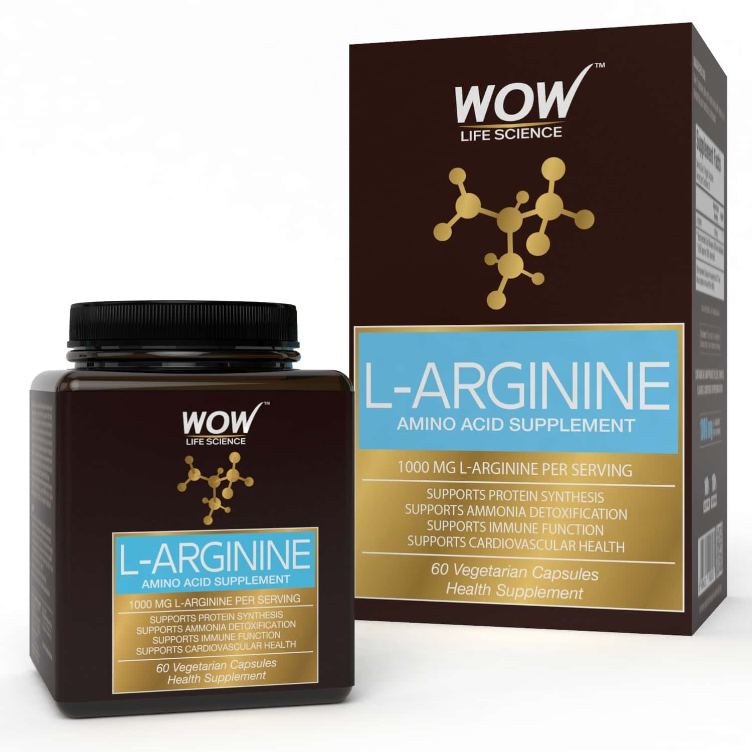 Wow Life Science 1000mg L-arginine Amino Acid Supplement  Veg Capsules  Bottle Of 60