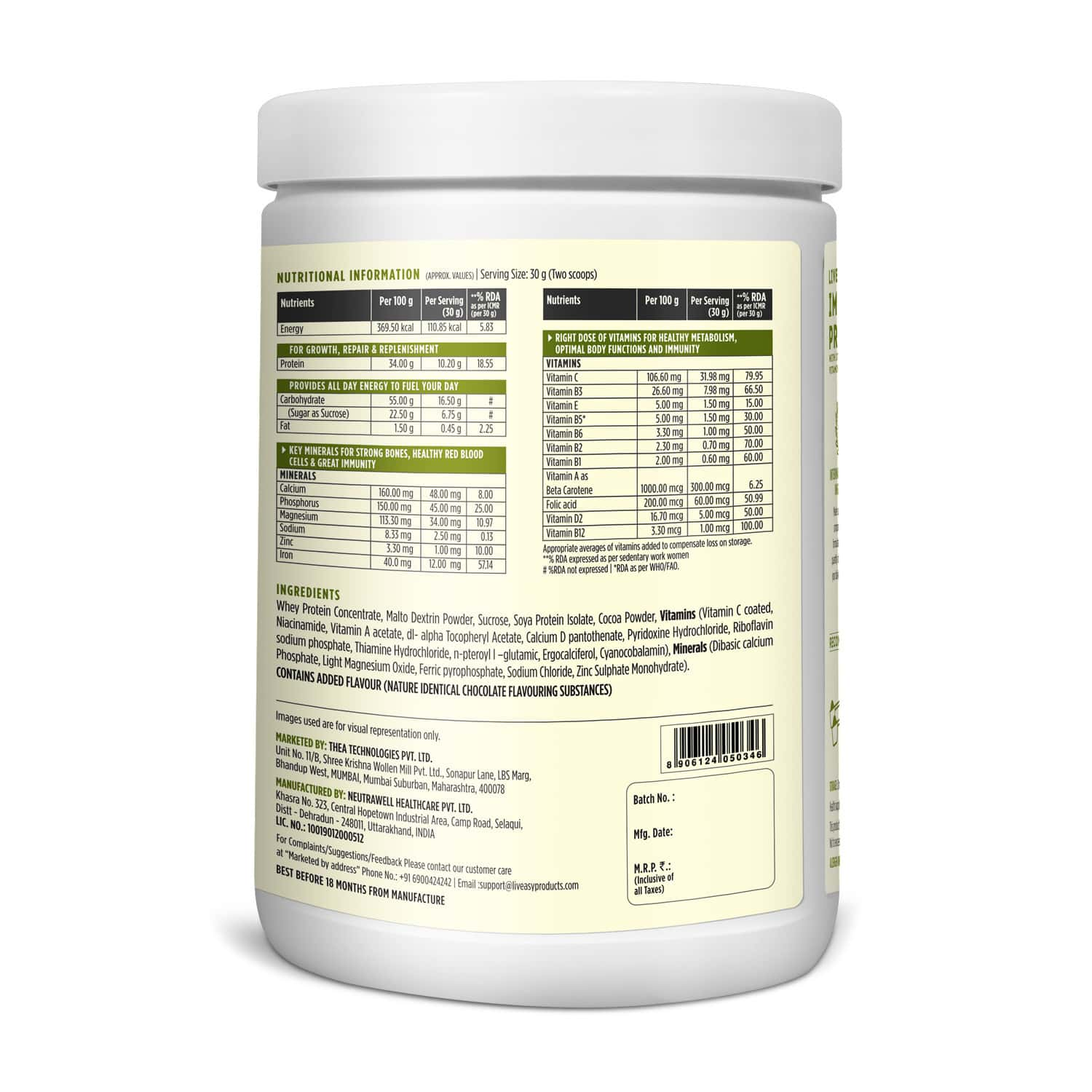 Liveasy Wellness Immuno Protein - Adult Protein Drink With Vitamins & Minerals - Provides Energy & Vitality - Jar Of 500 Gram