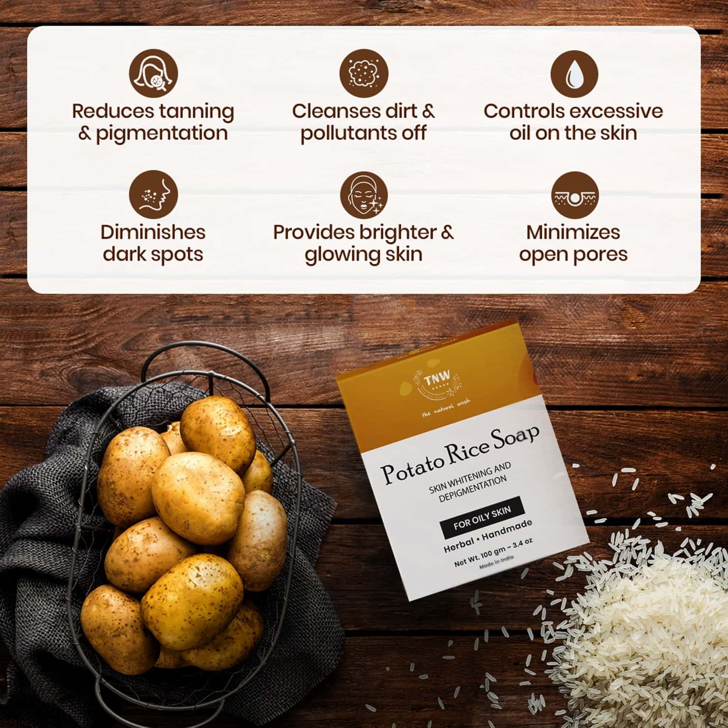 Tnw -the Natural Wash Handmade Potato Rice Soap For Tanning Pigmentation & Oily Skin - 100 Gm