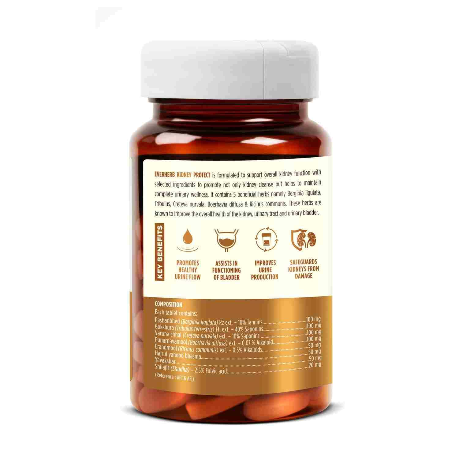 Everherb Kidney Protect -blend Of 8 Natural Powerful Herbs - Promotes Healthy Urine Flow - 60 Tablets