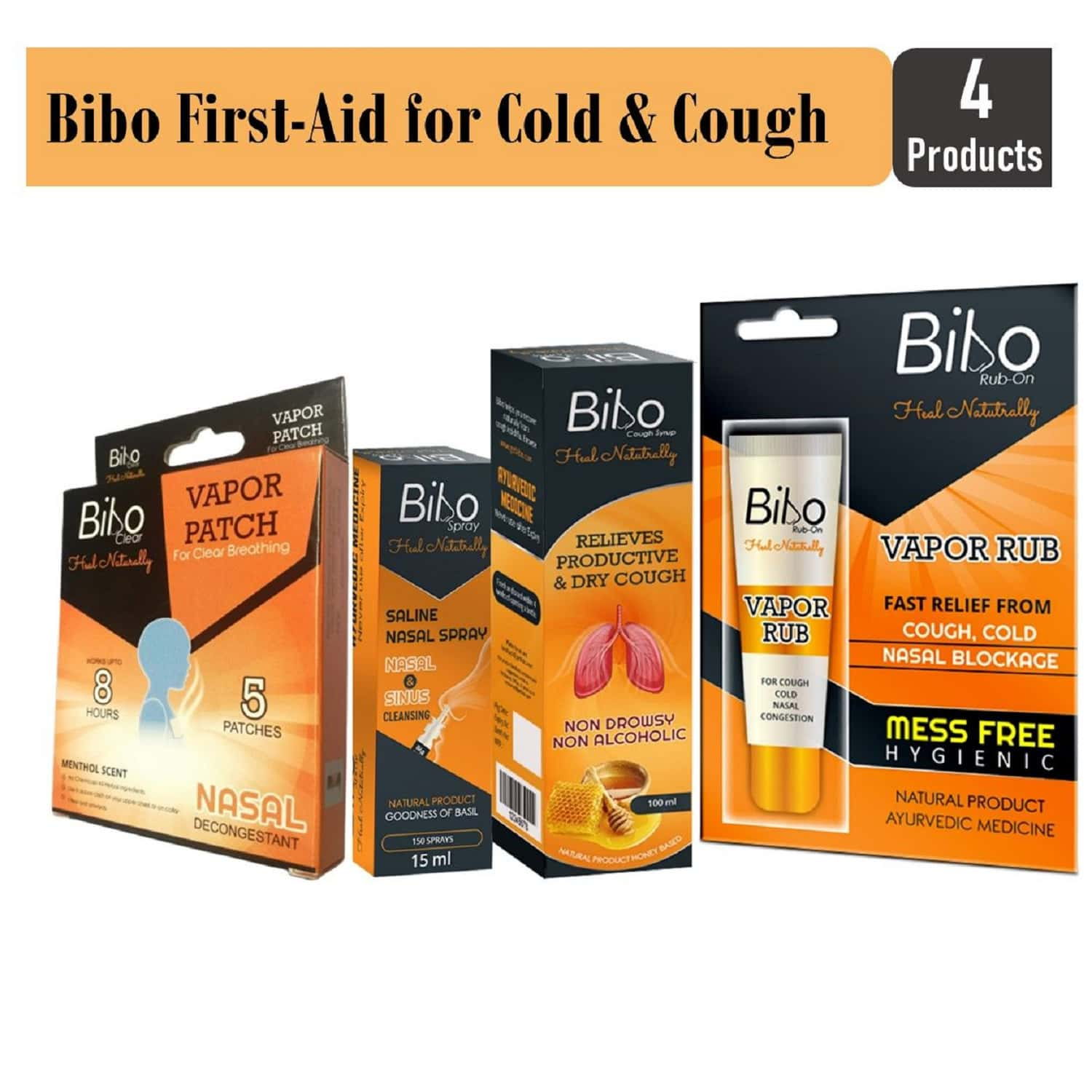 Bibo First-aid / Travel-kit For Cough & Cold - All Natural Products - Have A Pack At Home Always - Immunity Protector - 4 Products