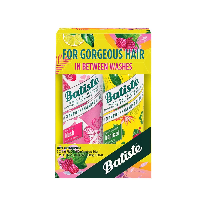 Batiste Value Kit Floral & Flirty Blush, Coconut & Exotic Tropical Dry Shampoo - 100ml (pack Of 2 X 50ml)