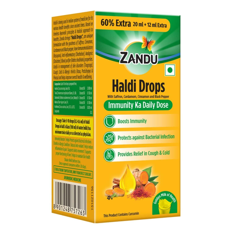 Zandu Haldi Drops Immunity Building - 32ml (20ml + 12 Ml Free)