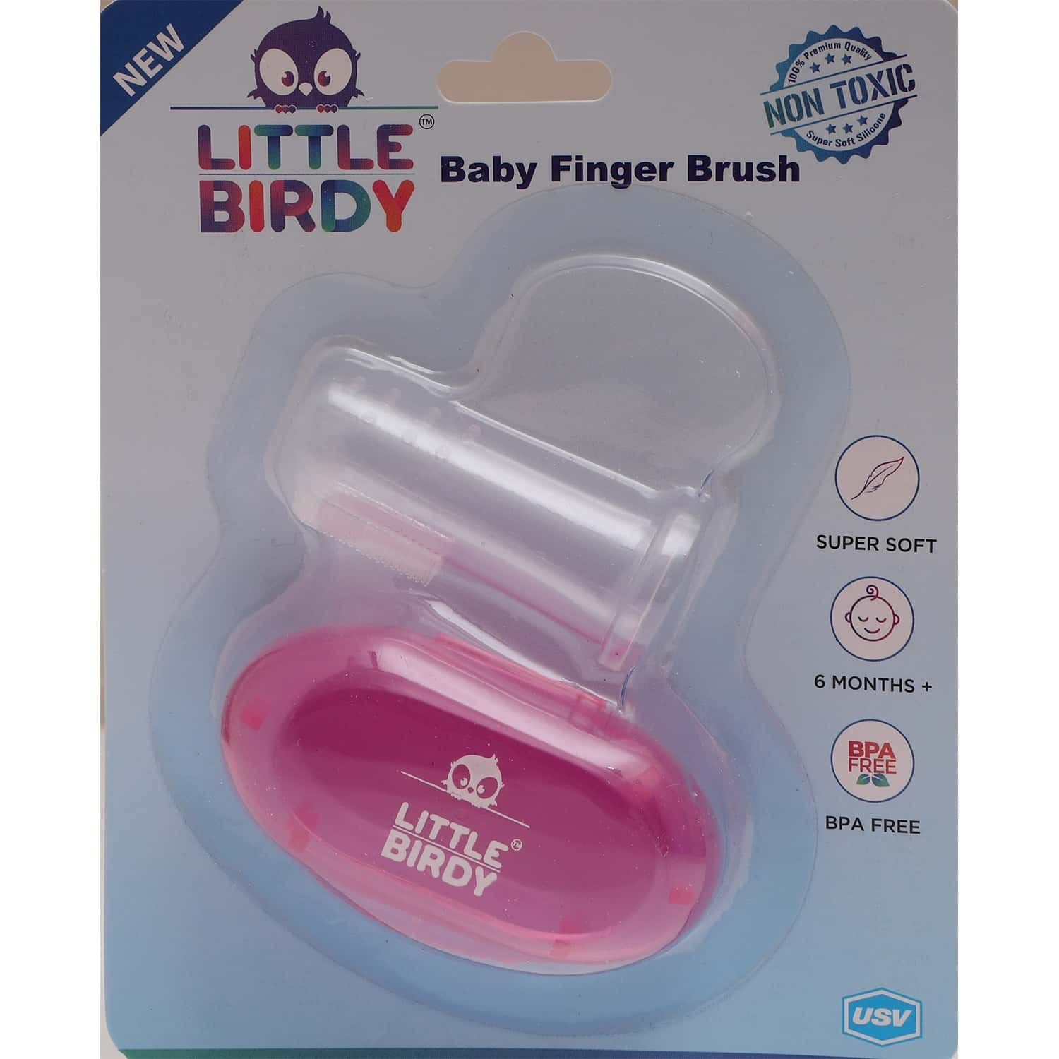 Little Birdy Baby Finger Brush In Pink Case - 1 Unit