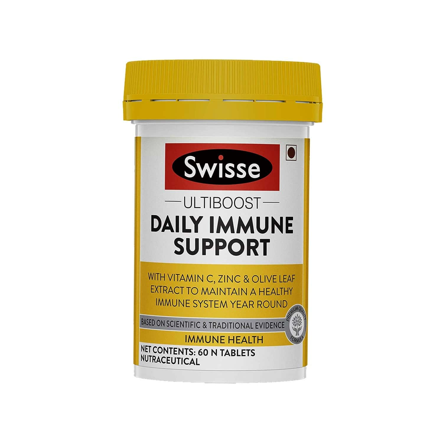 Swisse Ultiboost Daily Immune Support With Vitamin C Zinc And Olive Leaf Extract To Maintain A Healthy Immune System - 60 Tablets