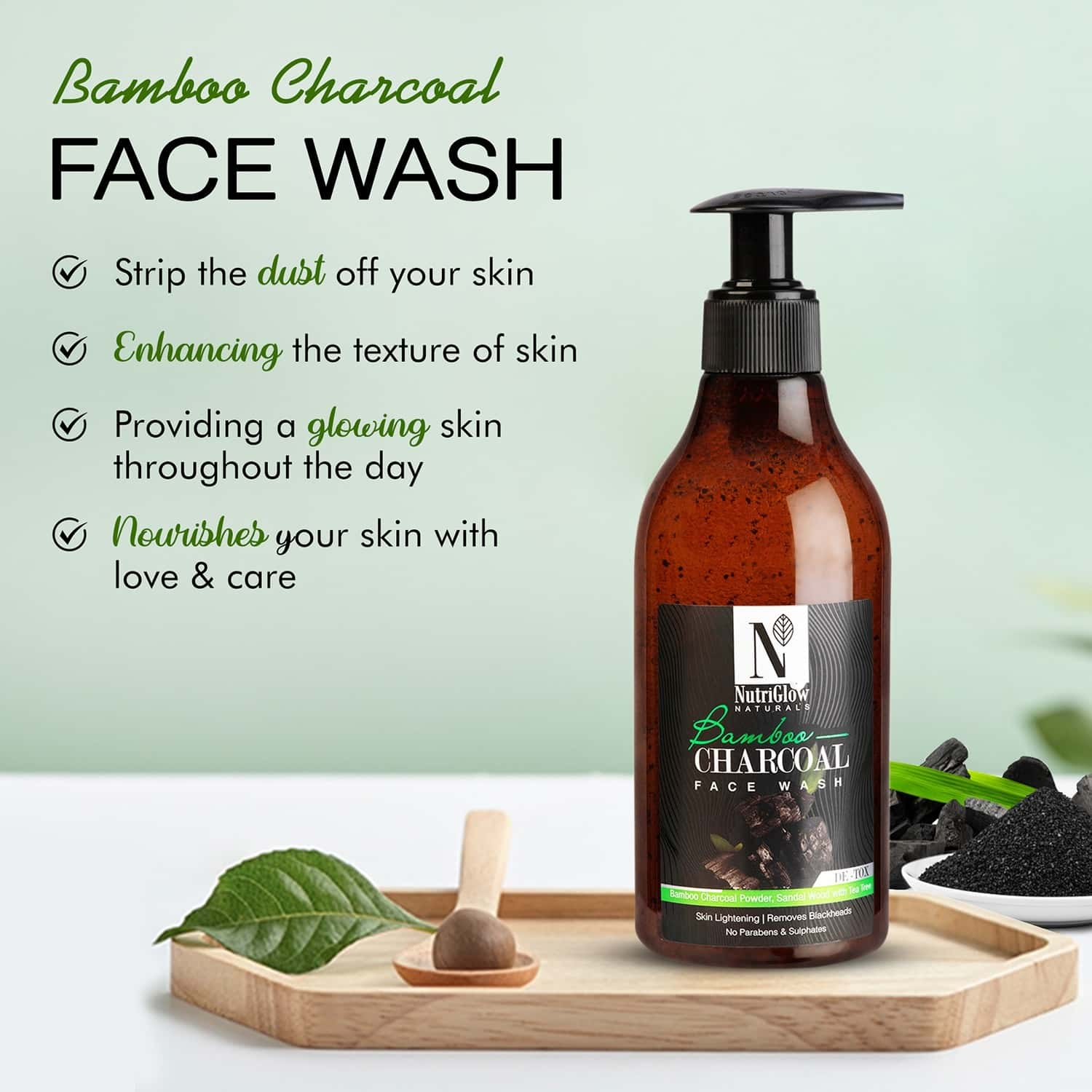 Nutriglow Natural's Bamboo & Charcoal Face Wash For Deep Clean | Acne Face Wash 300ml