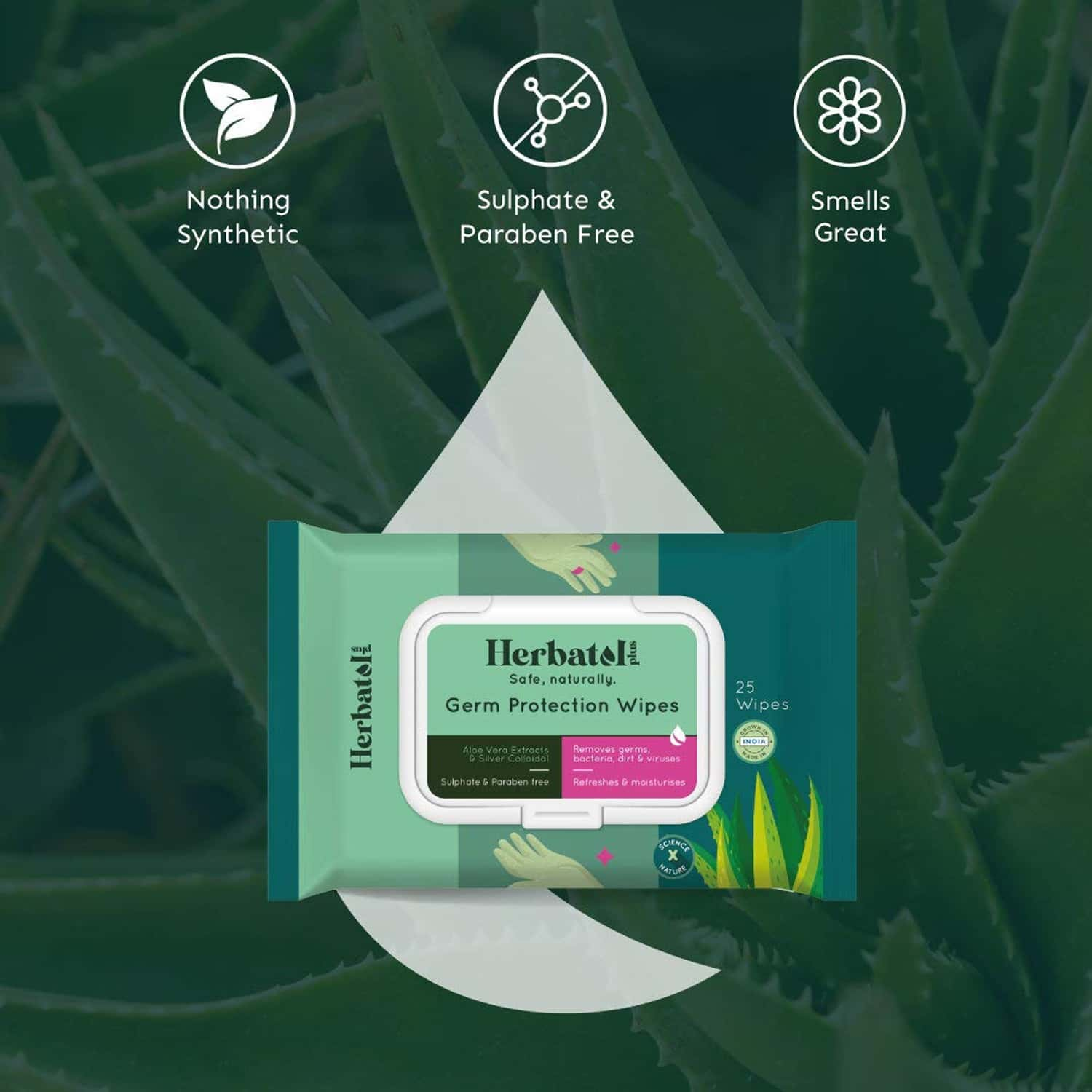 Herbatol Plus Germ Protection Wipes - 100% Biodegradable | Safe On Skin - Aloe Vera Extracts - 25's
