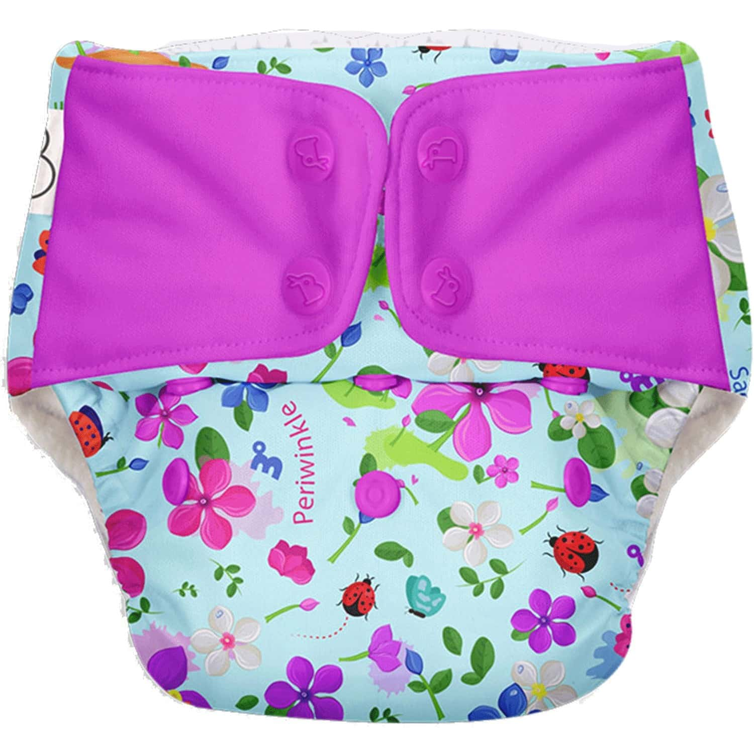 Superbottoms Freesize Uno - Reusable Cloth Diaper With Dry Feel Pads Set - Periwinkle