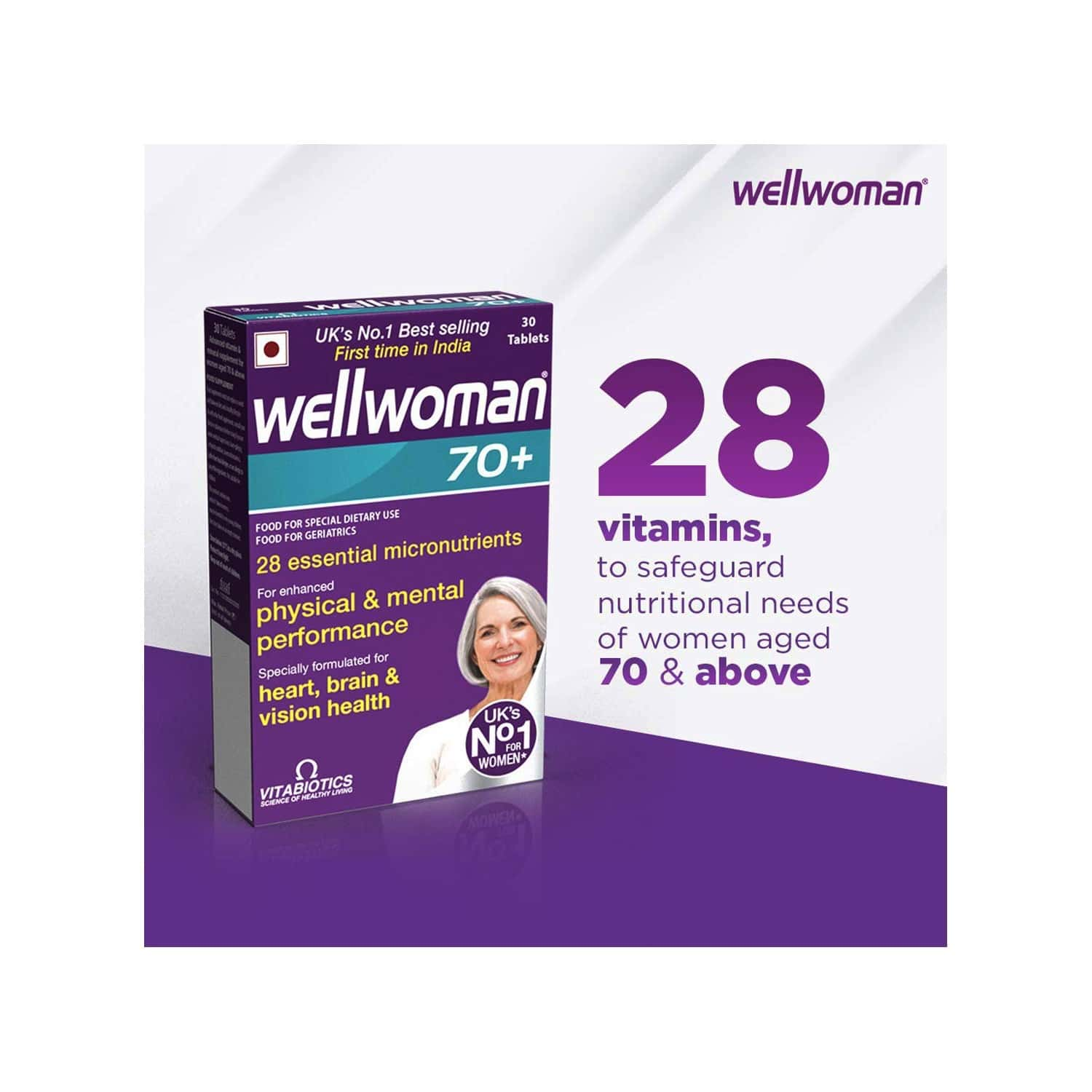 Wellwoman 70+ - Health Supplements (28 Vitamins And Nutrients) With Wellman 30 Tablet Free
