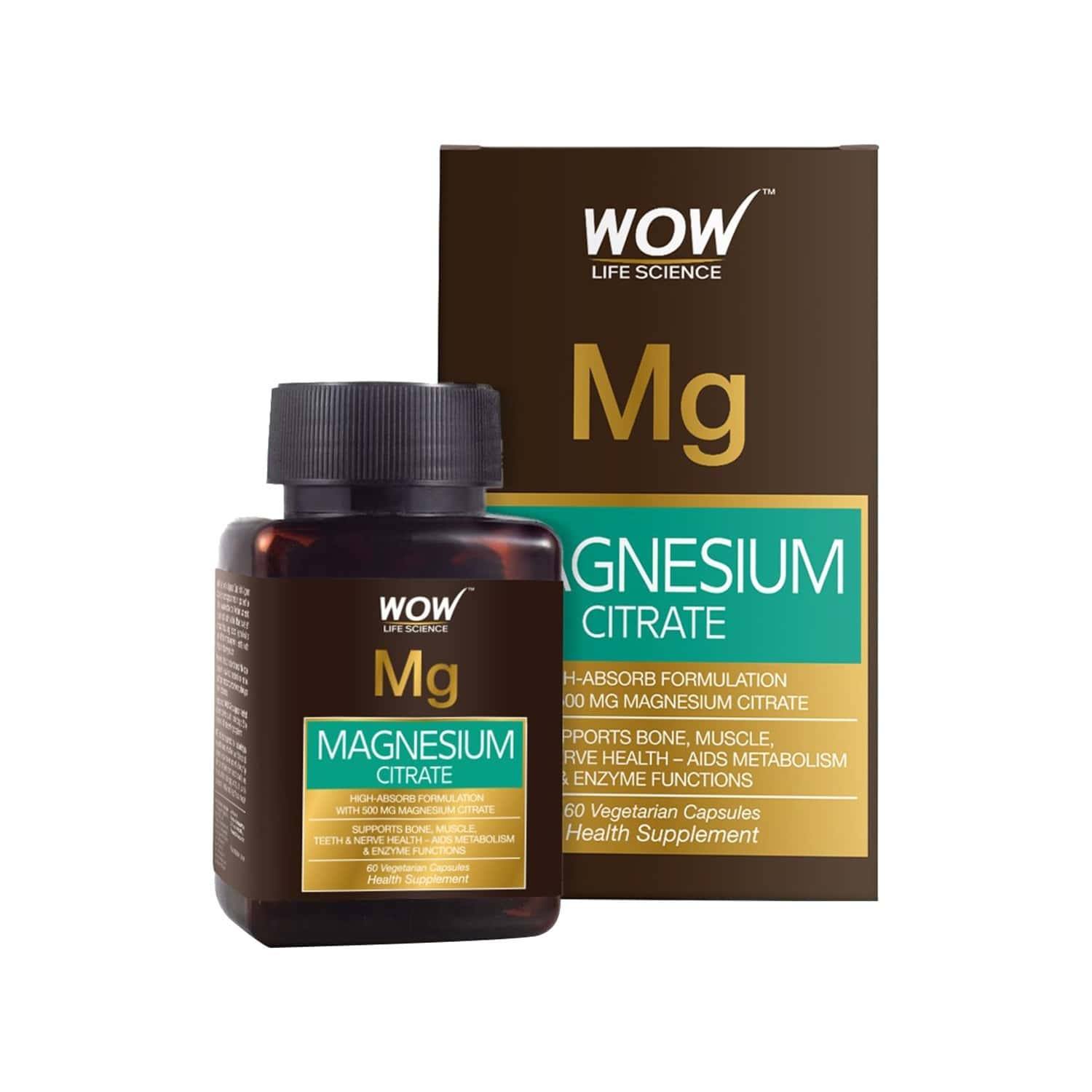 Wow Life Science Magnesium Citrate 500 Mg - 60 Vegetarian Capsules
