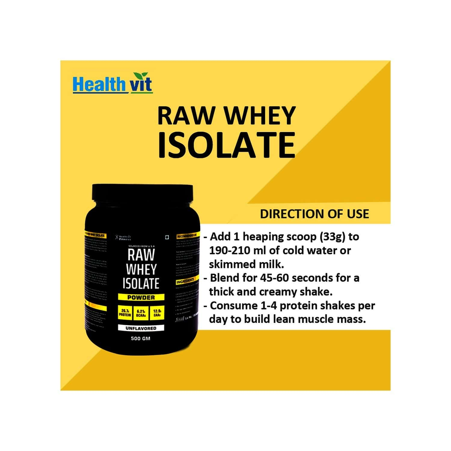Healthvit Raw Whey Isolate Protein Supplement Powder- Unflavored (33 Serving) -500g