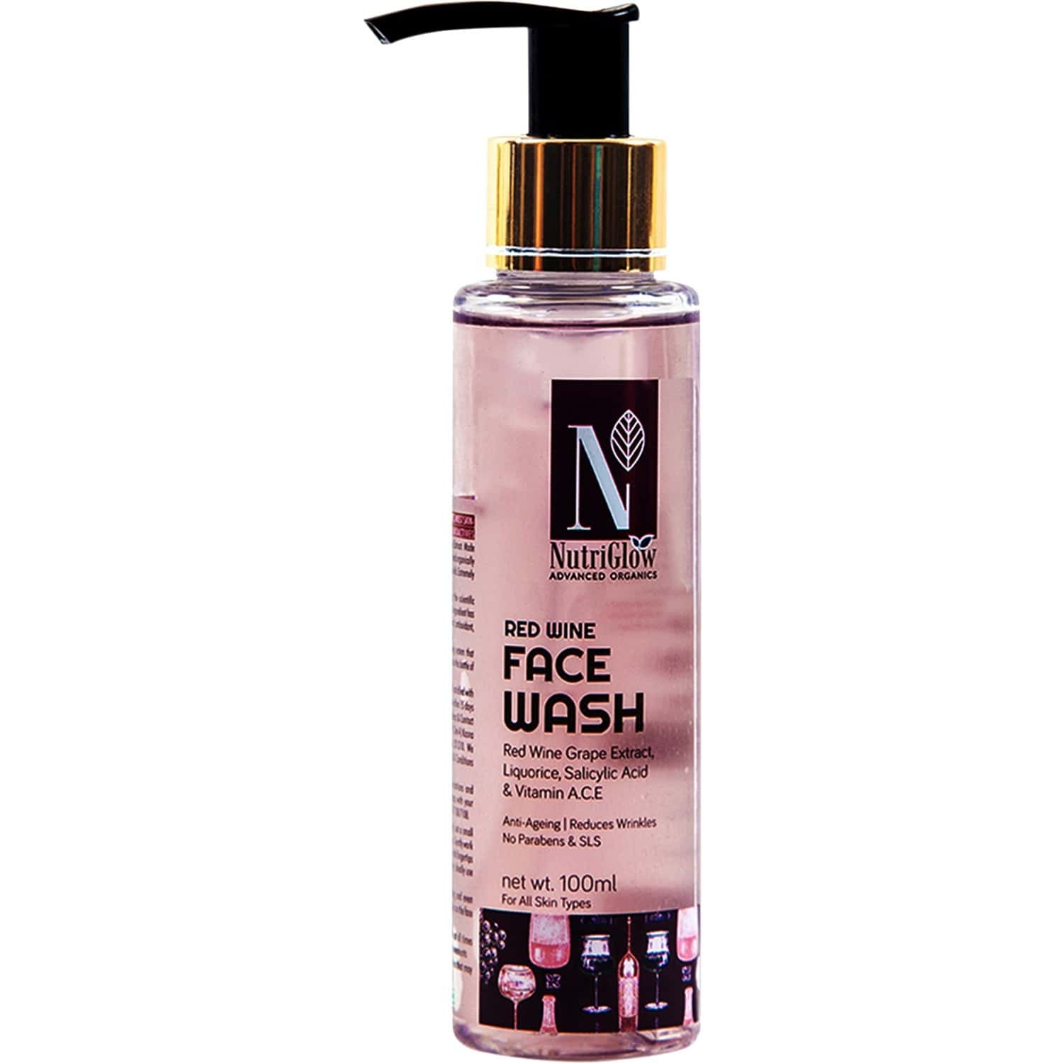 Nutriglow Advanced Organics Red Wine Face Wash 100ml /anti-ageing/red Wine Grape Extracts/ Skin Glow