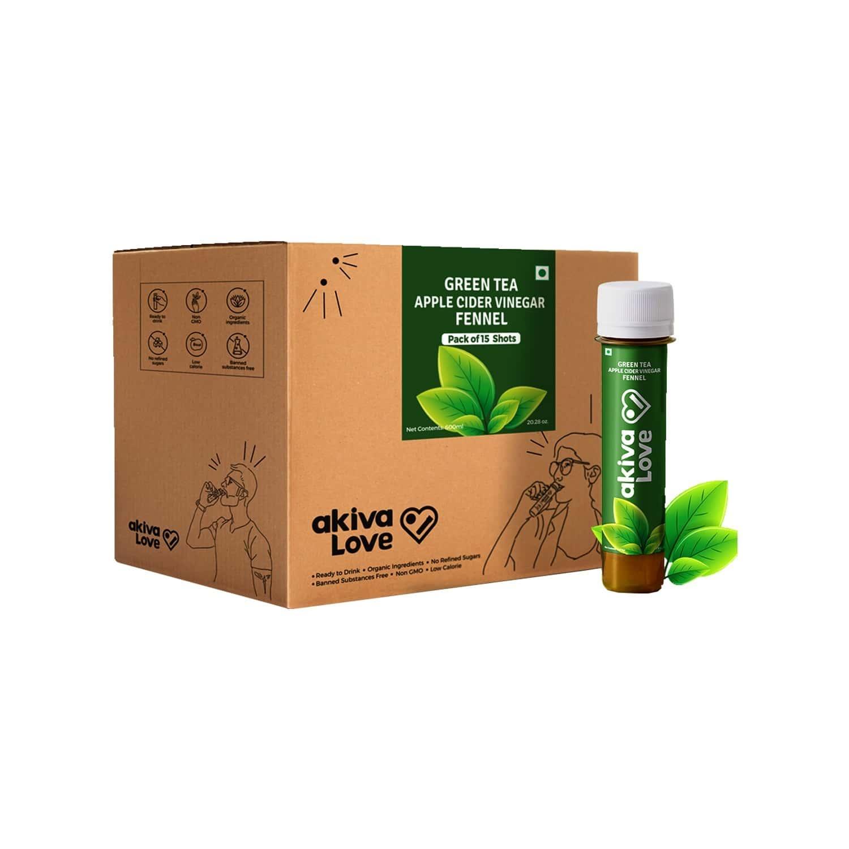 Akiva Love Green Tea Apple Cider Vinegar Fennel Metabolism Booster Shots 600ml (15 Shots X 40ml)