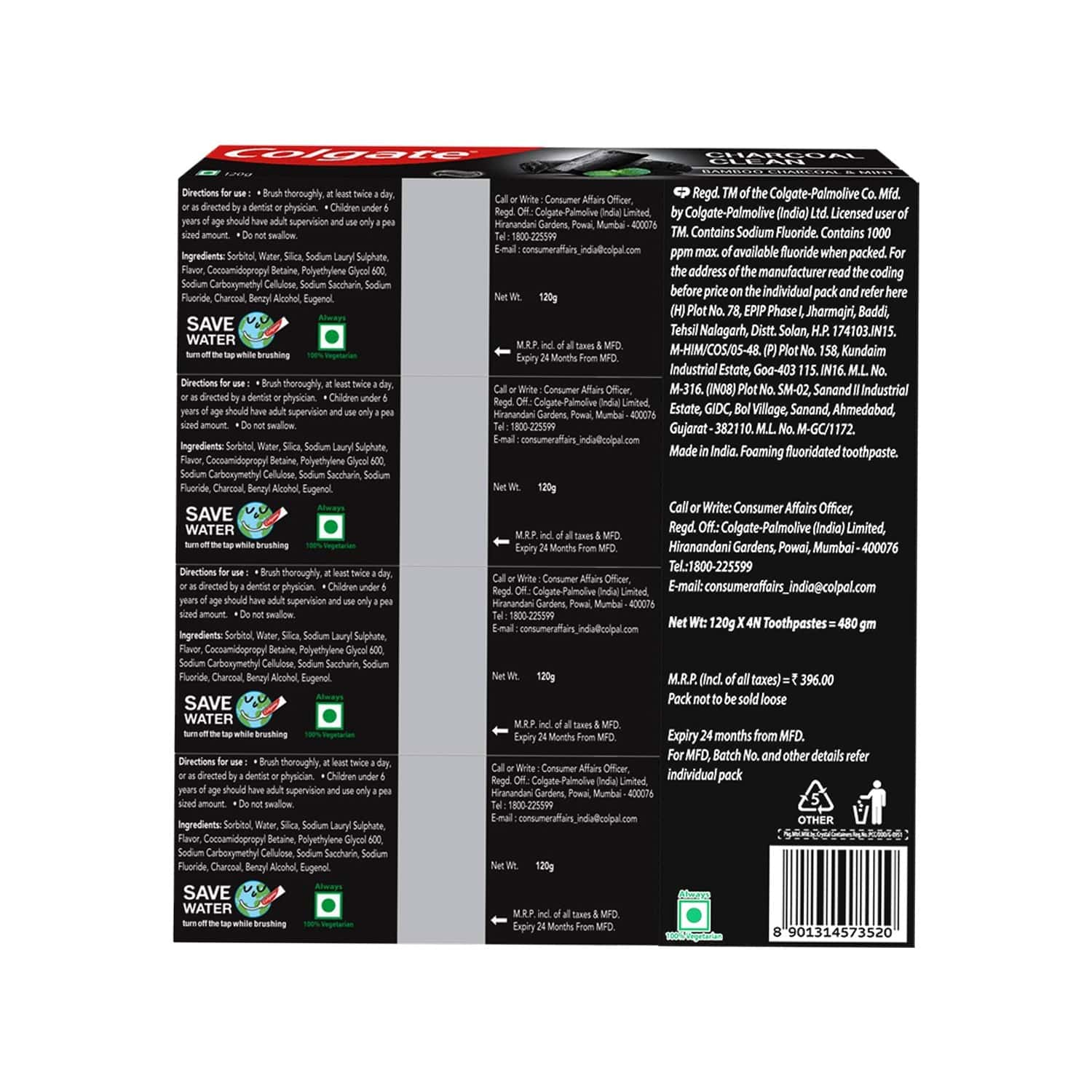 Colgate Charcoal Clean Toothpaste, Black Gel Paste, Bamboo Charcoal And Wintergreen Mint For Clean Mouth, 120g X 4 - 480g