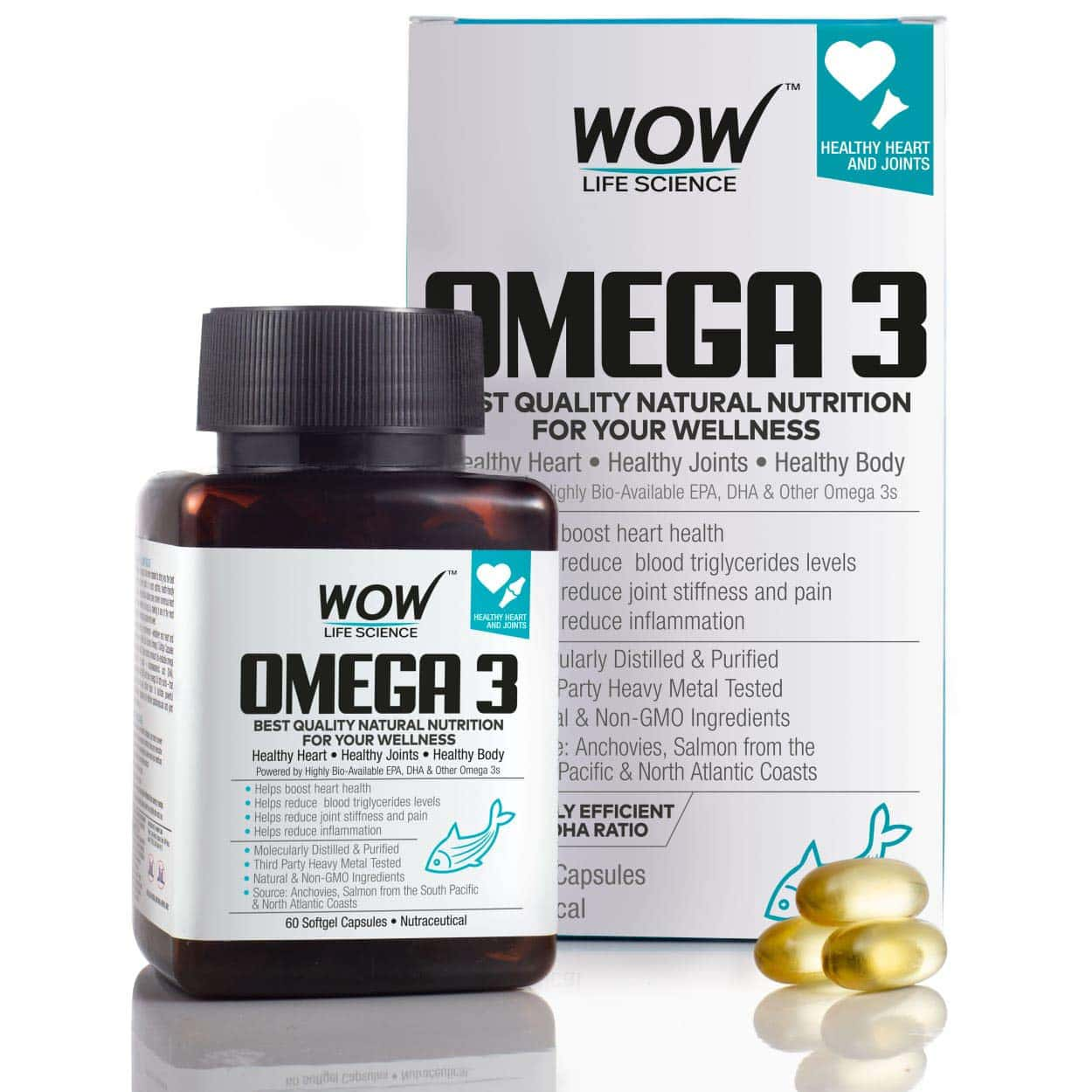 Wow Life Science  Omega Oil Capsules  Bottle Of 60