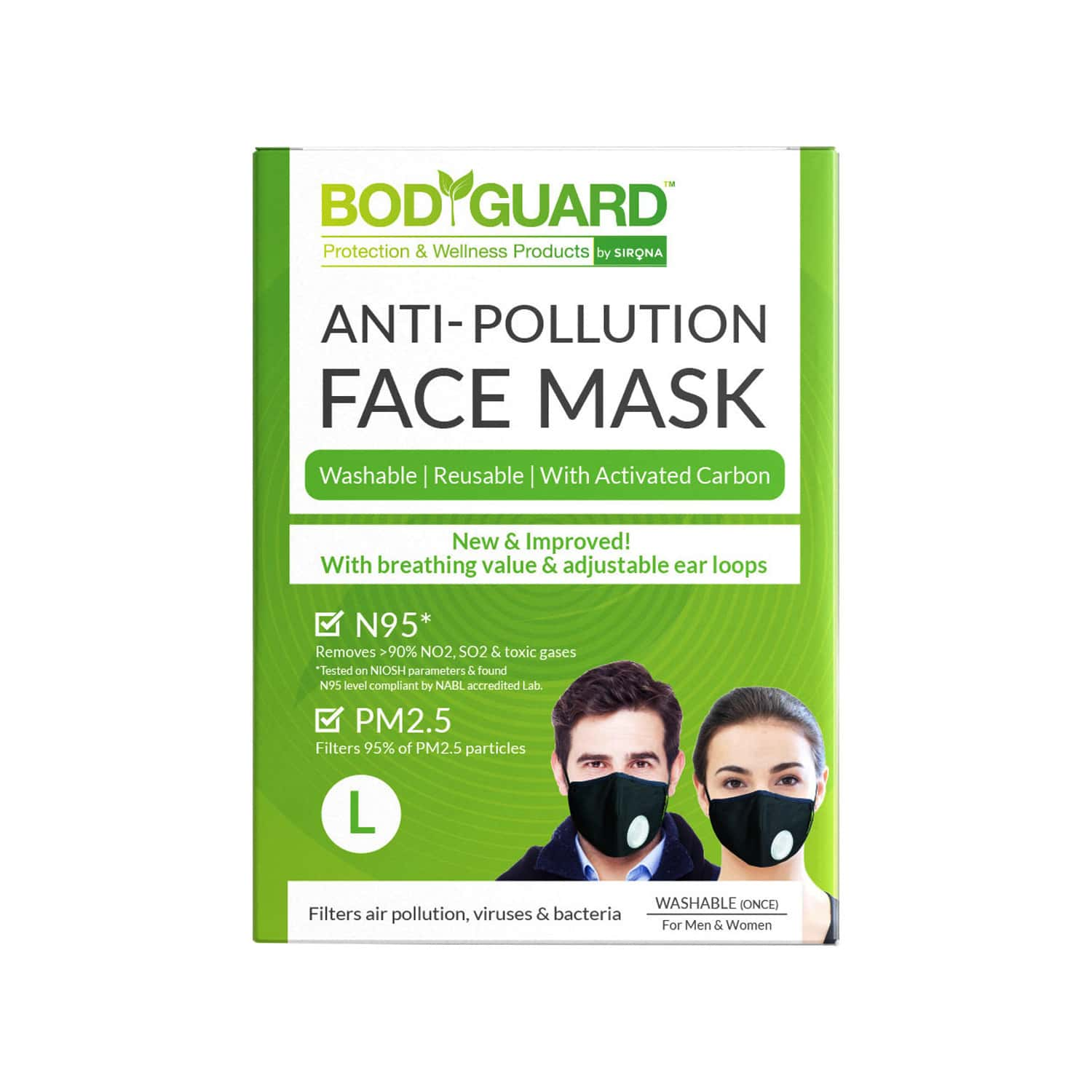 Bodyguard N95 + Pm2.5 Anti Pollution Face Mask With Valve And Activated Carbon - Large