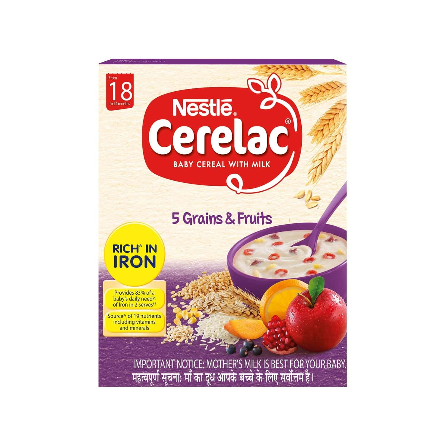 Nestle Cerelac Baby Cereal With Milk Grains And Fruits Baby Food (from 18 To 24 Months) Box Of 300 G