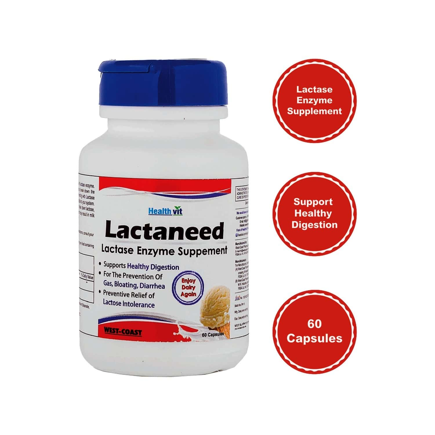Healthvit Lactaneed Lactase Enzyme Supplement 300mg For Lactose Intolerance - 60 Capsules