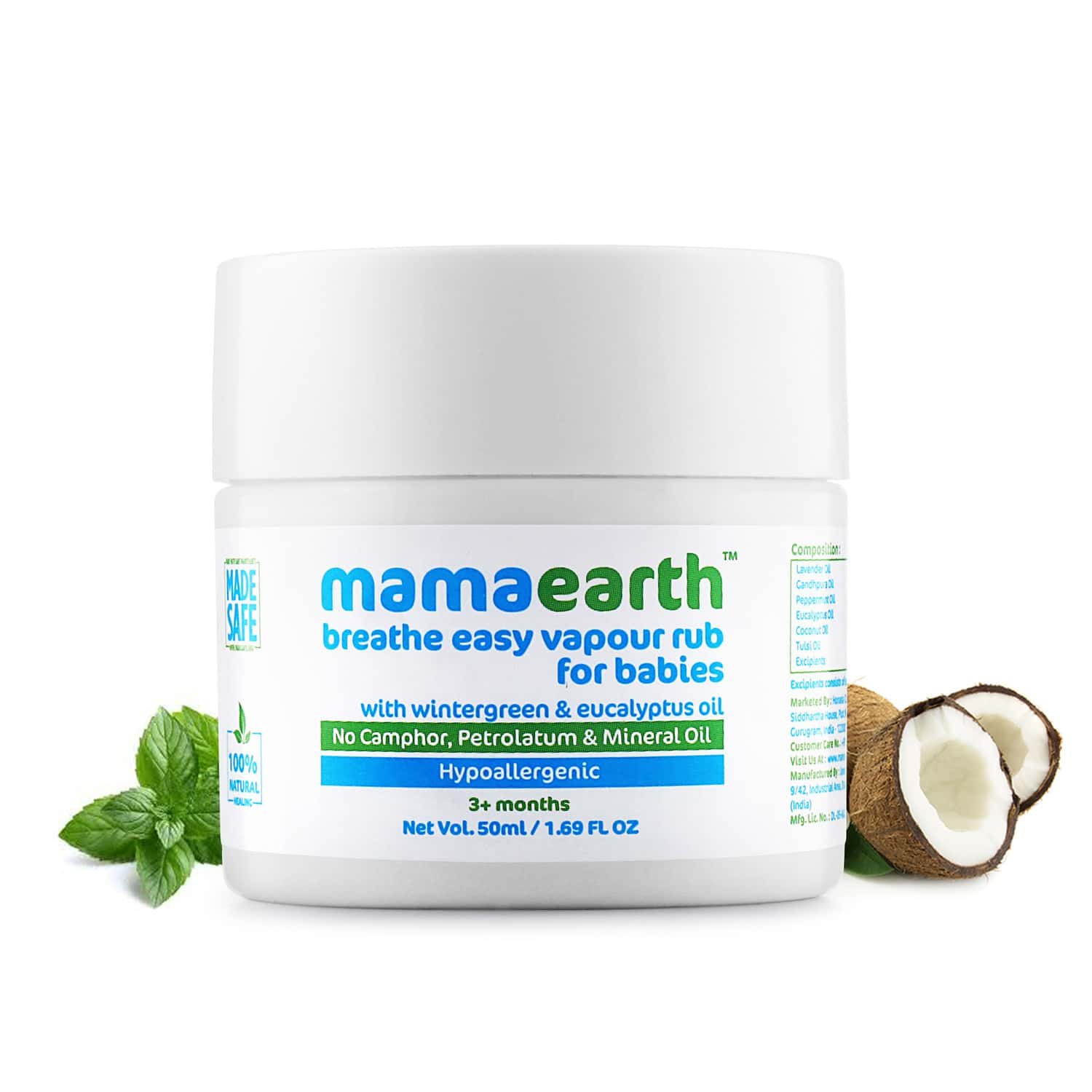 Mamaearth Natural Breathe Easy Wintergreen Eucalyptus And Tulsi Vapour Rub Balm  Container Of 50 Ml