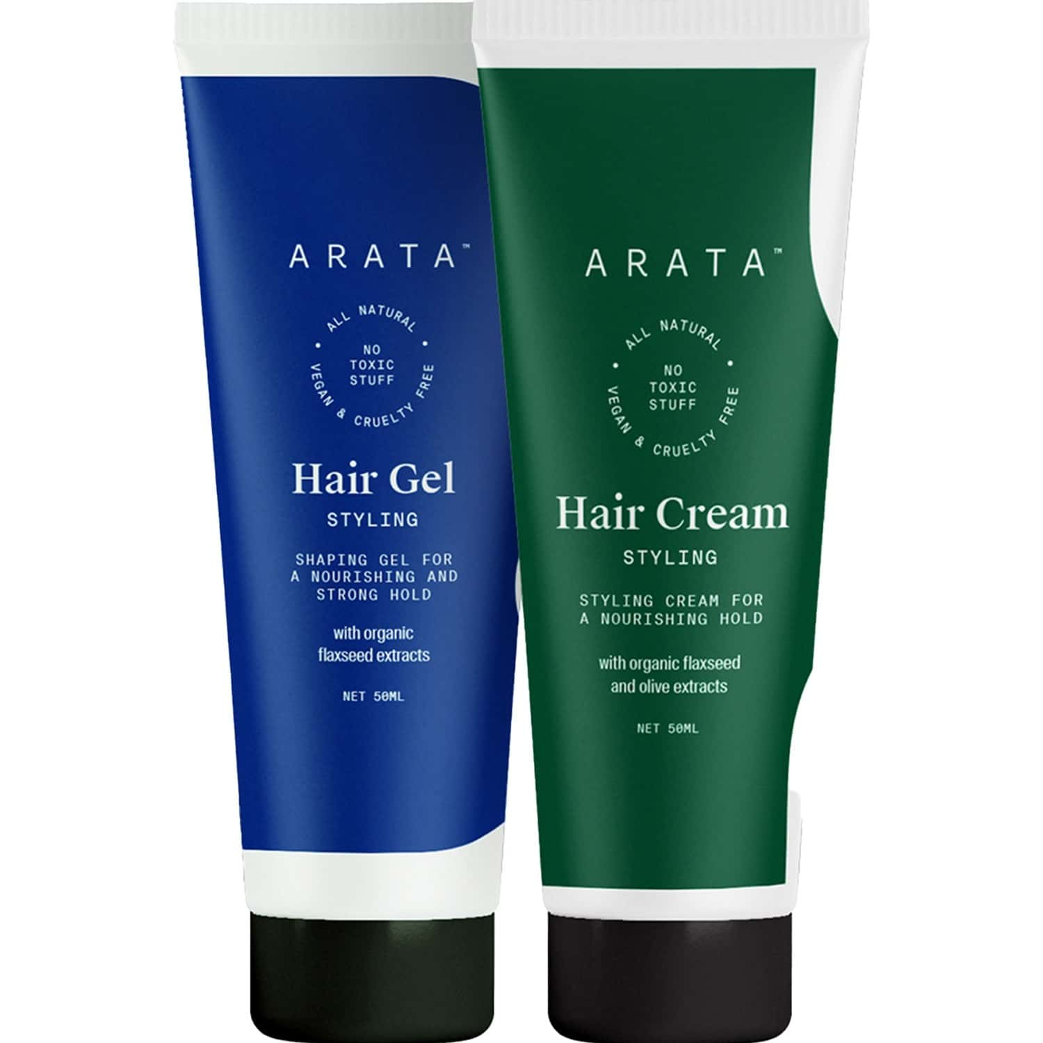 Arata Natural Hair Styling Combo With Hair Gel(50 Ml) & Hair Cream(50 Ml) For Women & Men    All Natural,vegan & Cruelty Free    For Nourishing ,styling & Strong Hold