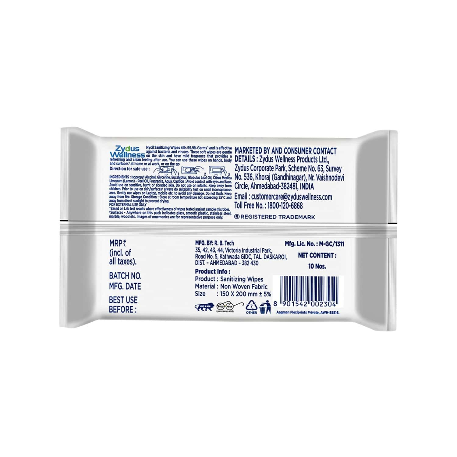Nycil Thick And Soft Sanitizing Wipes - 10 Wipes