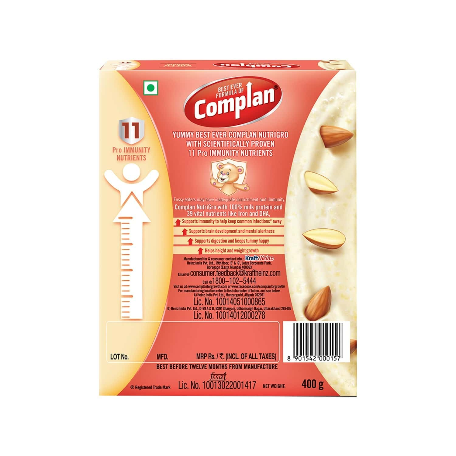 Complan Nutrigro Child Nutrition Drink For Toddlers (2 -6 Year) Box Of 400 G