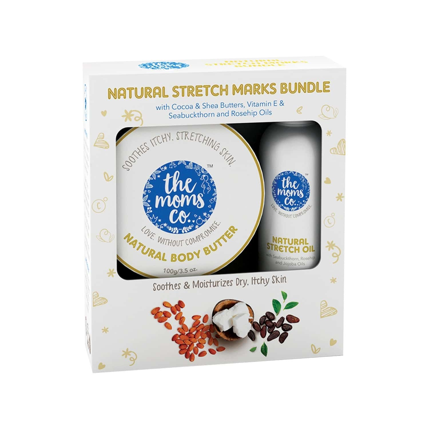 The Moms Co. 7 In 1 Natural  Stretch Bio Oil -100 Ml And Natural Body Butter -100g  Kit Of 2