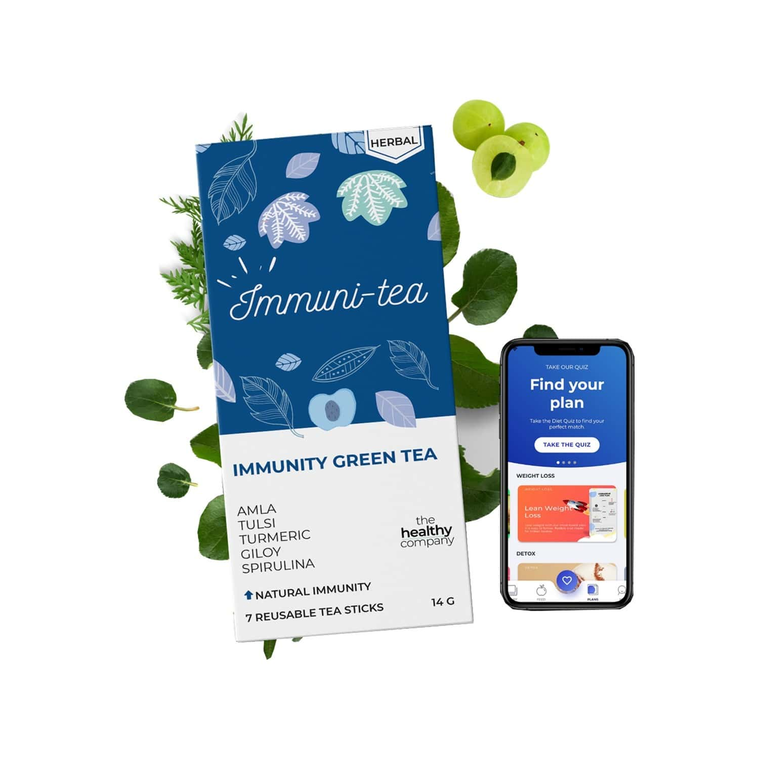 The Healthy Company One Month Immunity Booster - 56 Spice Flavoured Flavoured Natural Green Tea Sticks -diabetes Pcod Thyroid & Keto - Men & Women