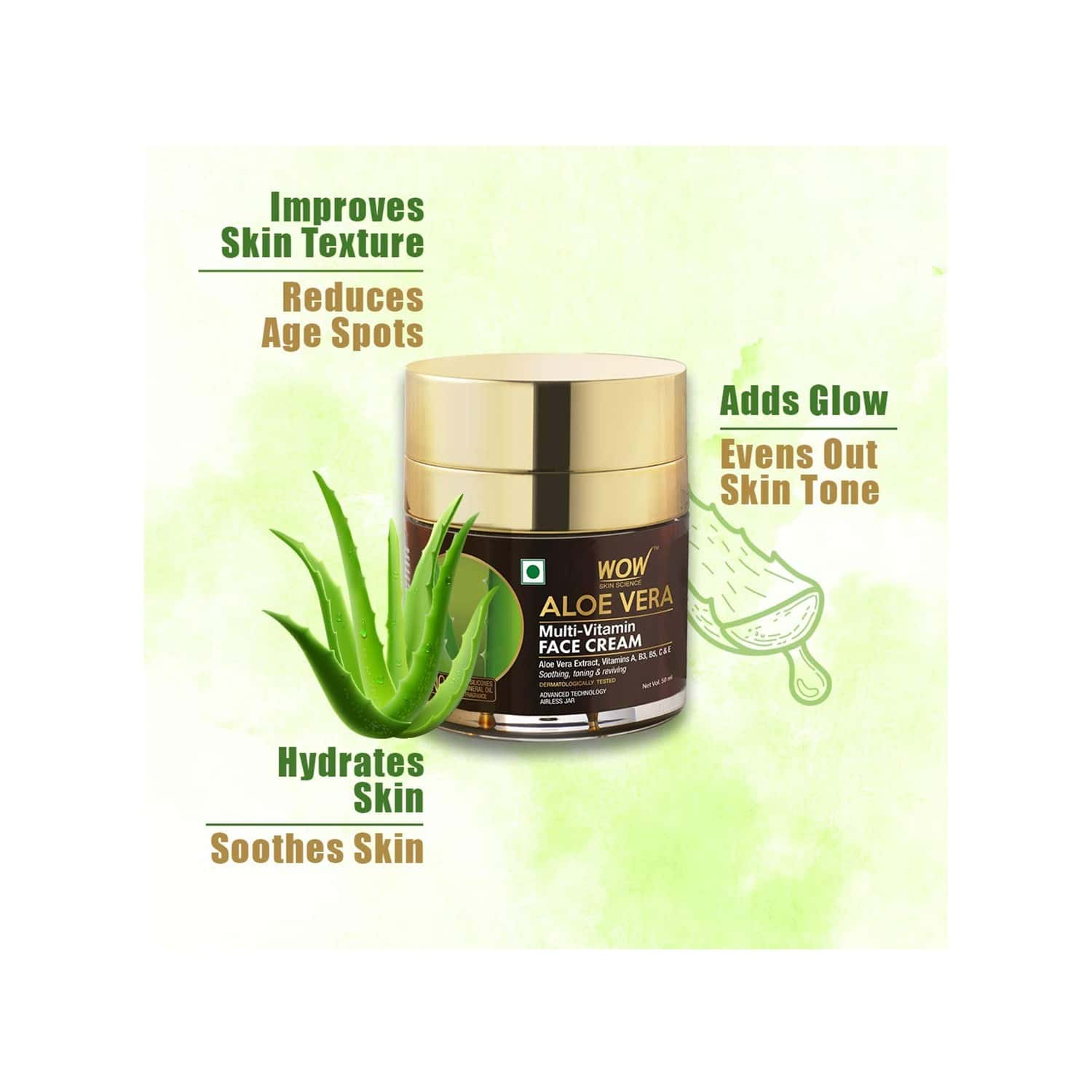 Wow Skin Science Aloe Vera Multi-vitamin Face Cream - 50 Ml