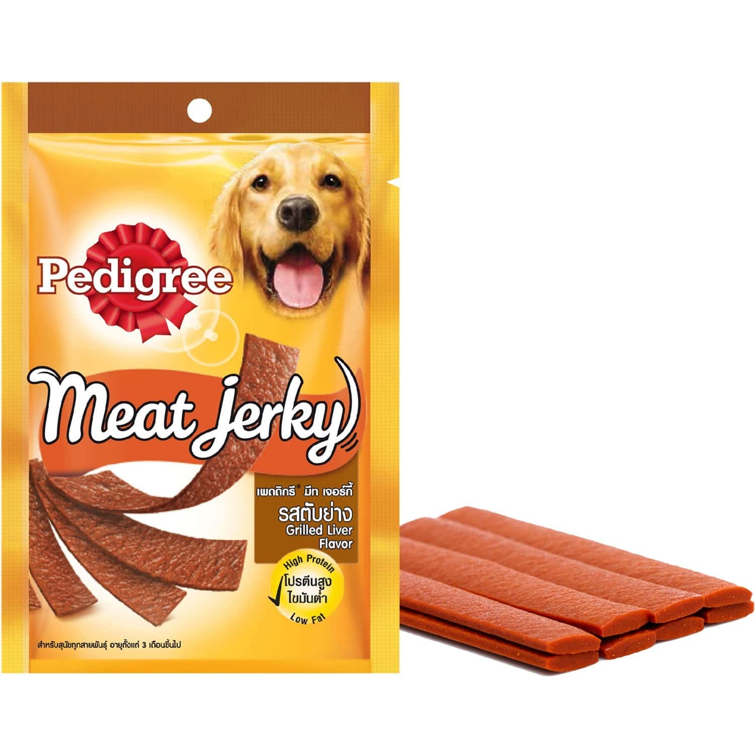 Pedigree Meat Jerky Adult Dog Treat , Grilled Liver, 80g Pouch