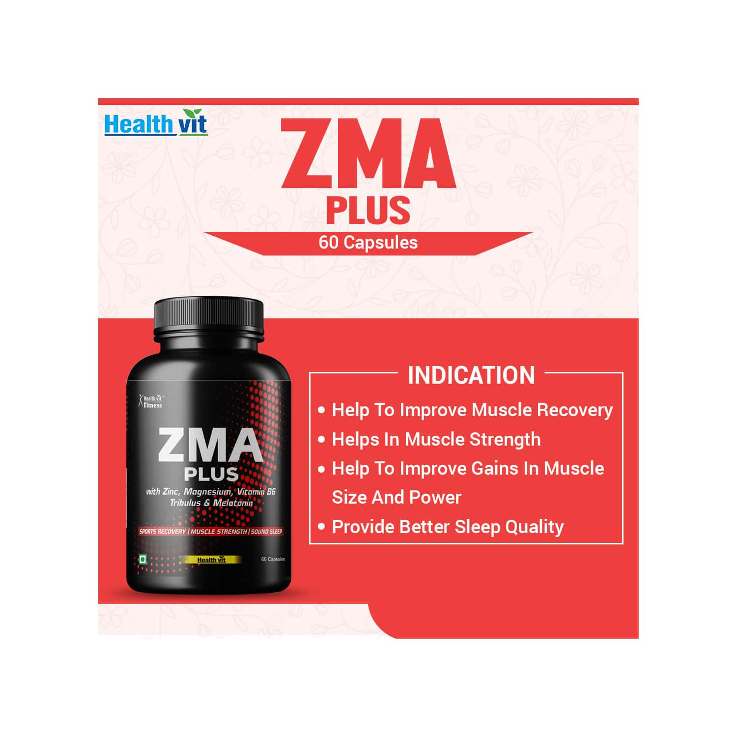 Healthvit Fitness Triple Strength Zma Plus, Sports Recovery & Sleep Support Supplement With Zinc, Magnesium, Vitamin B6, Tribulus & Melatonin - 60 Capsules
