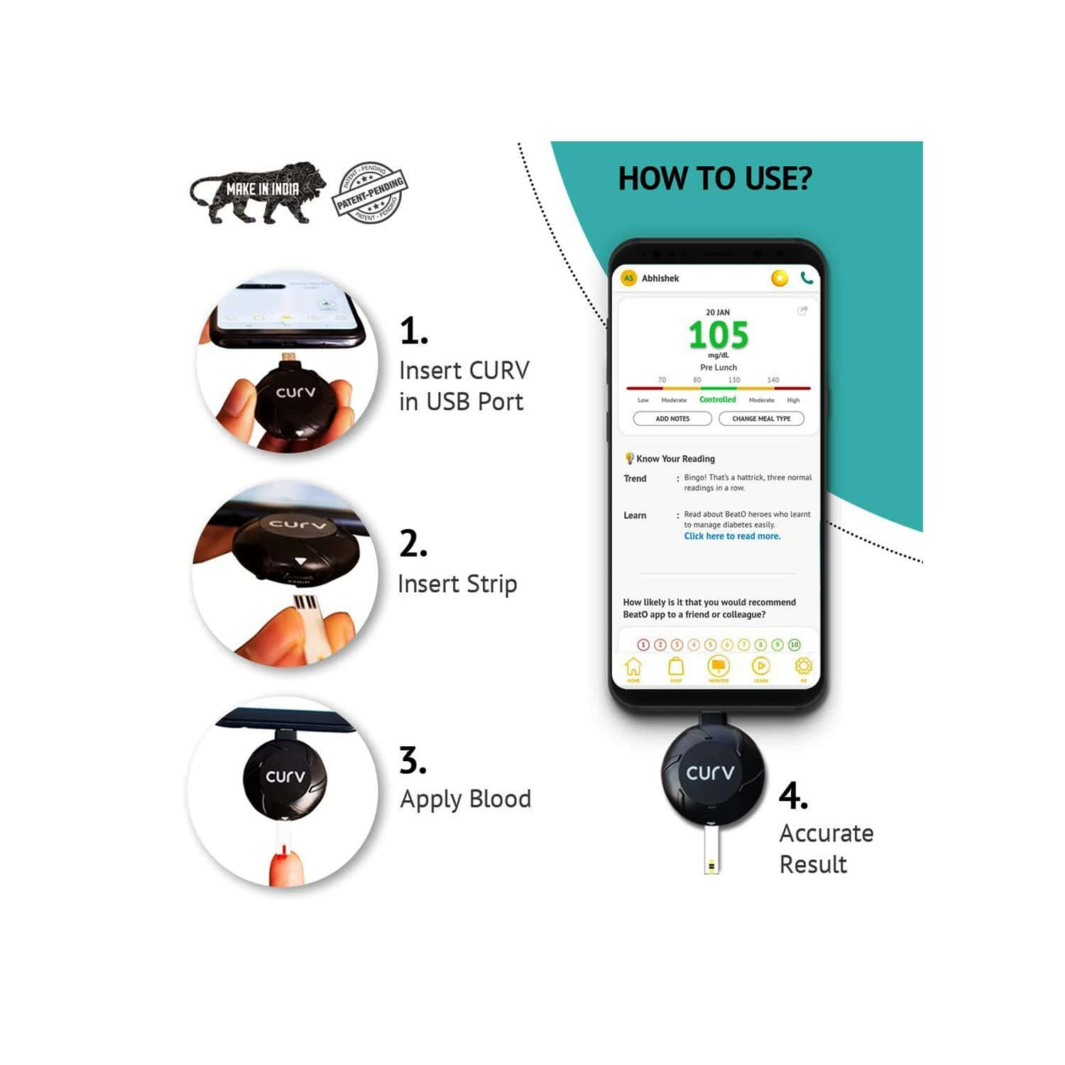 Beato Curv Usb C-type Glucometer Kit With 10 Strips And 10 Lancets