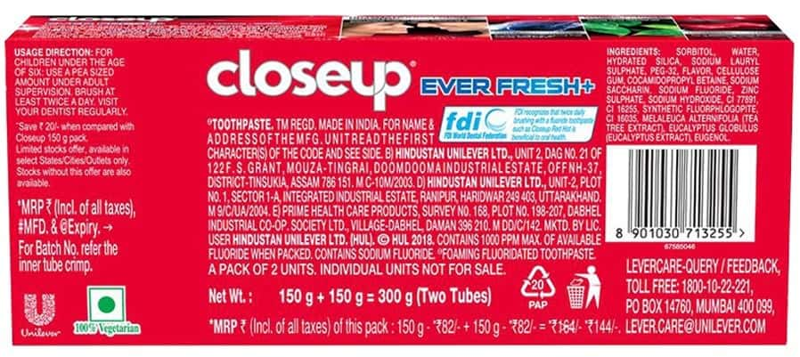 Closeup Ever Fresh Red Hot Gel Toothpaste 2 X 150 Gm, Save Rs. 20